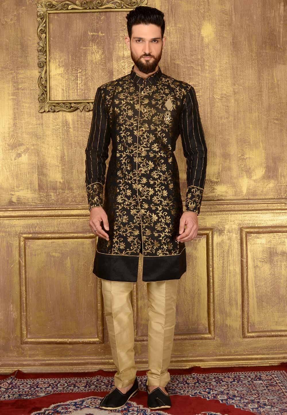 Men's Brocade Silk with Black Color Readymade Kurta Pajama.