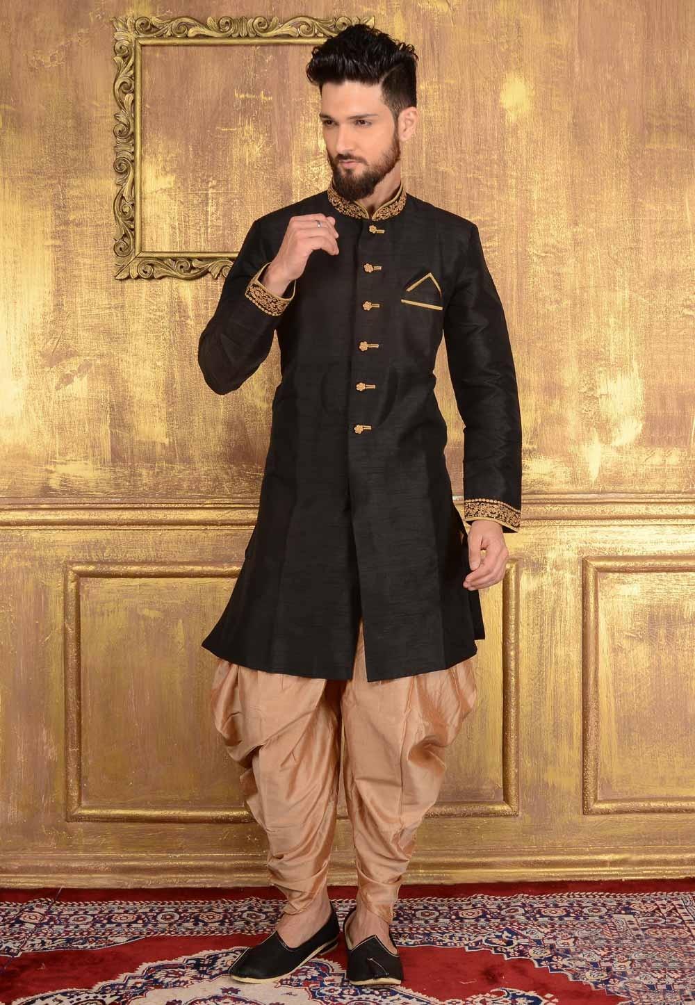 Men's Appealing Raglan Sleeves Black Banarasi Silk Readymade Kurta Pajama.