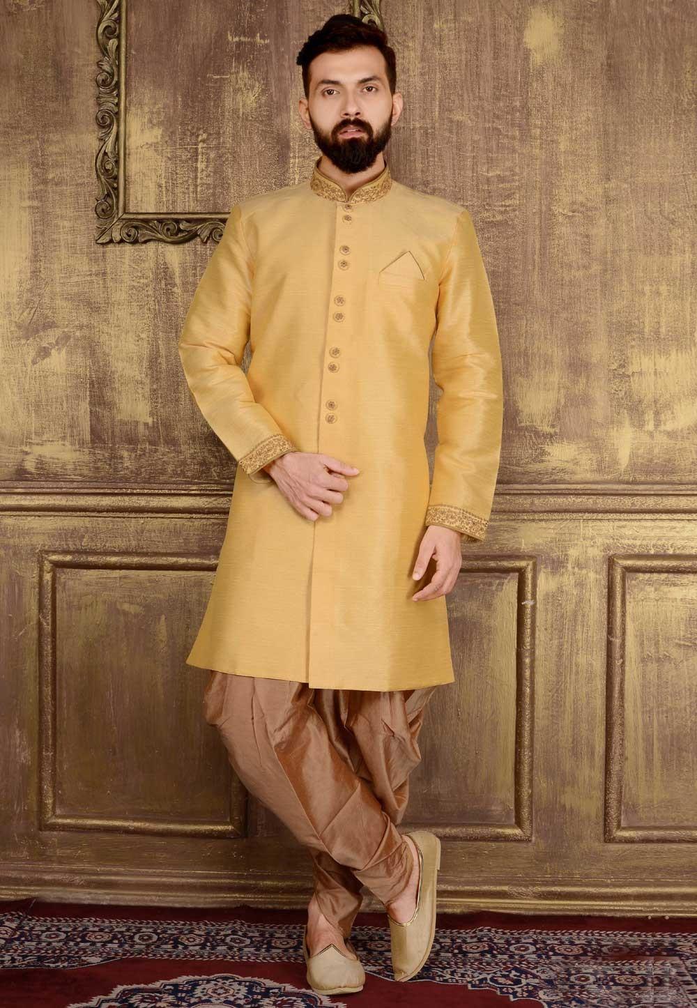 Men's Gold Color Banarasi,Art Silk Readymade Kurta Pajama.