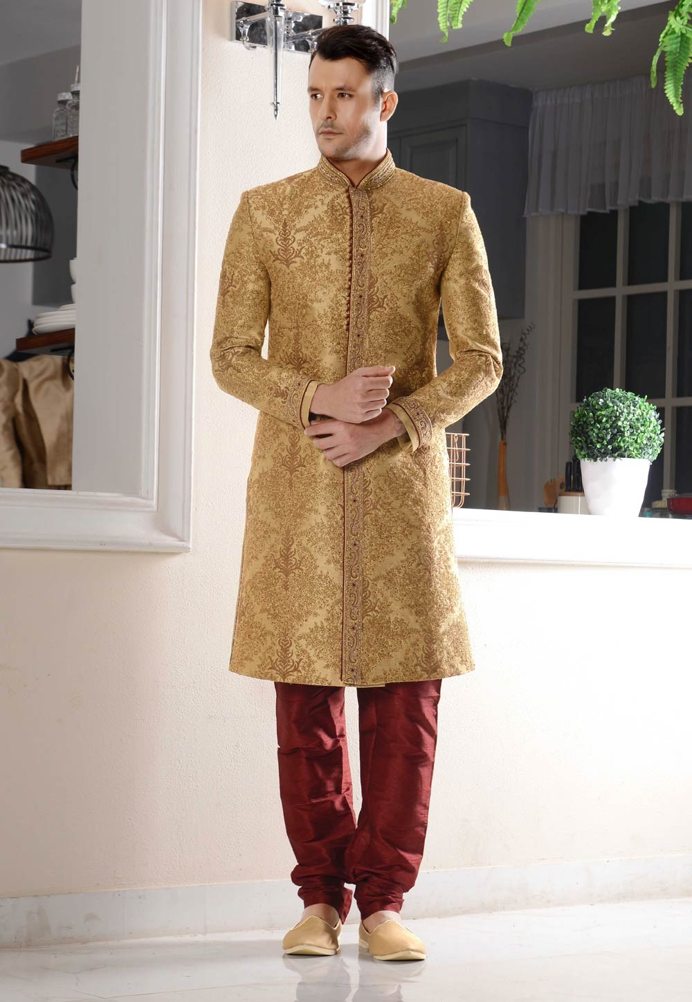 Striking Beige Color Sherwani in Banarasi Silk Fabric