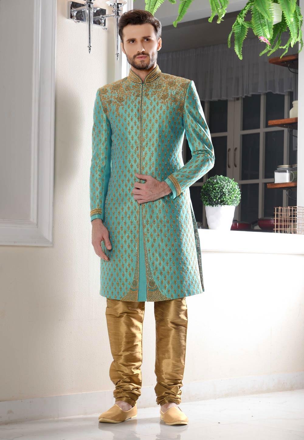 Eye-catching Banarasi Silk Fabric Turquoise Color Sherwani