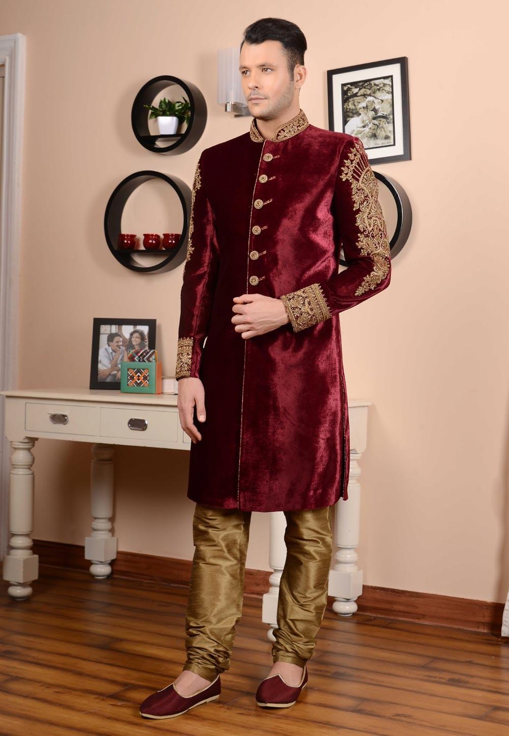 Eye-catching Velvet Fabric Maroon Color Sherwani
