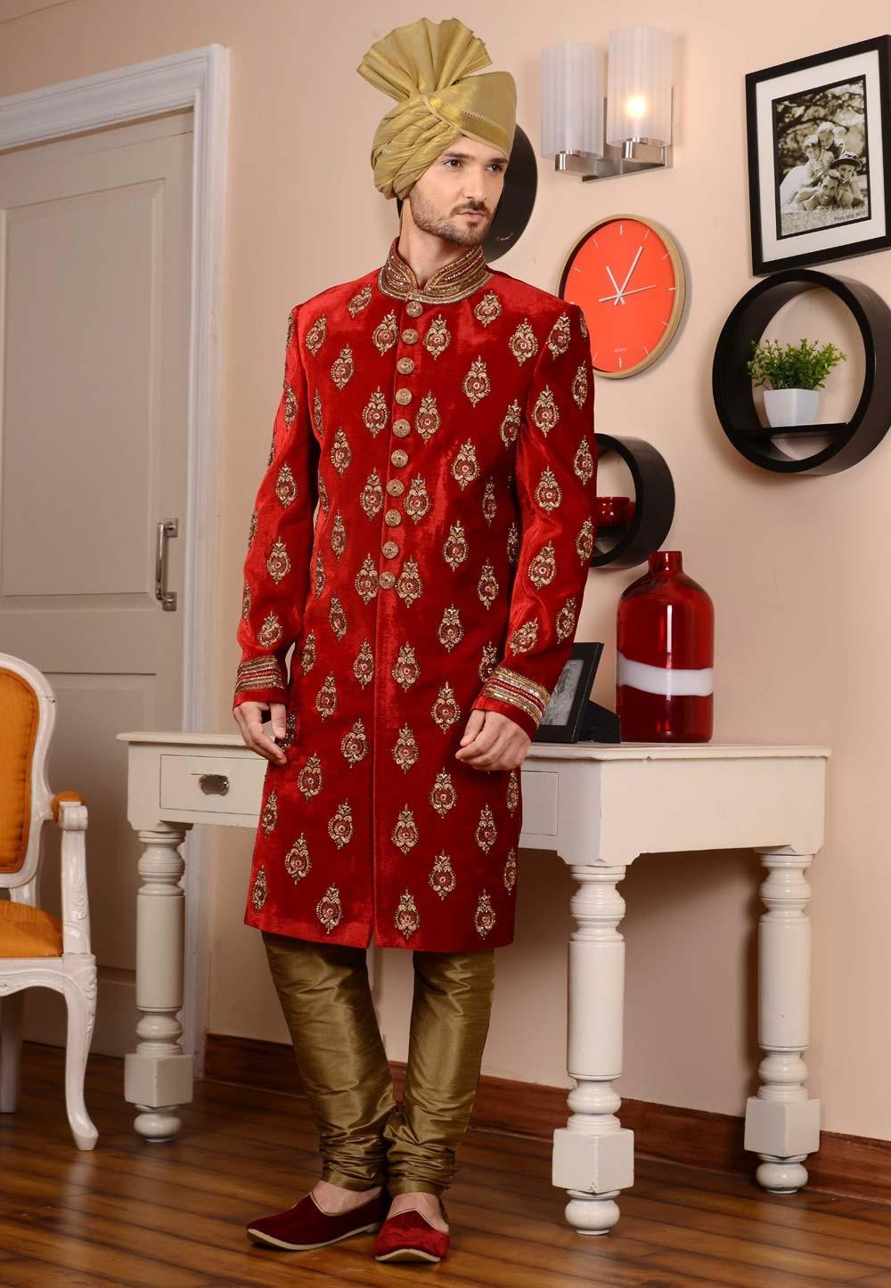 Eye-catching Velvet Fabric Red Color Sherwani
