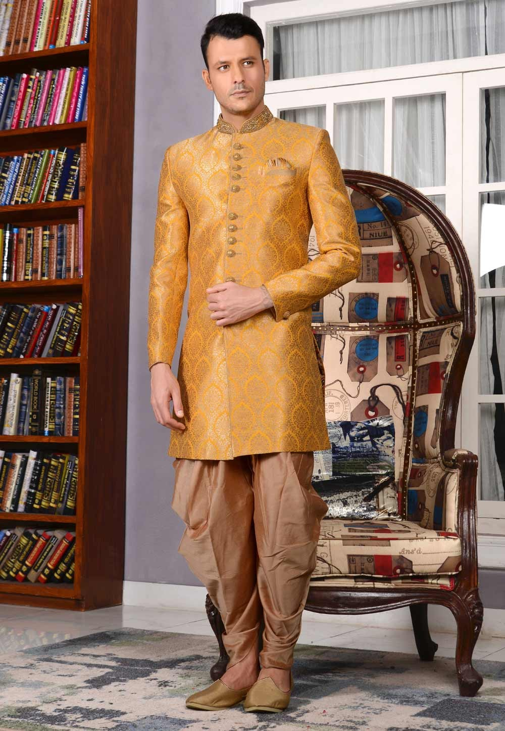 Yellow Color Jacquard,Brocade Silk Sherwani