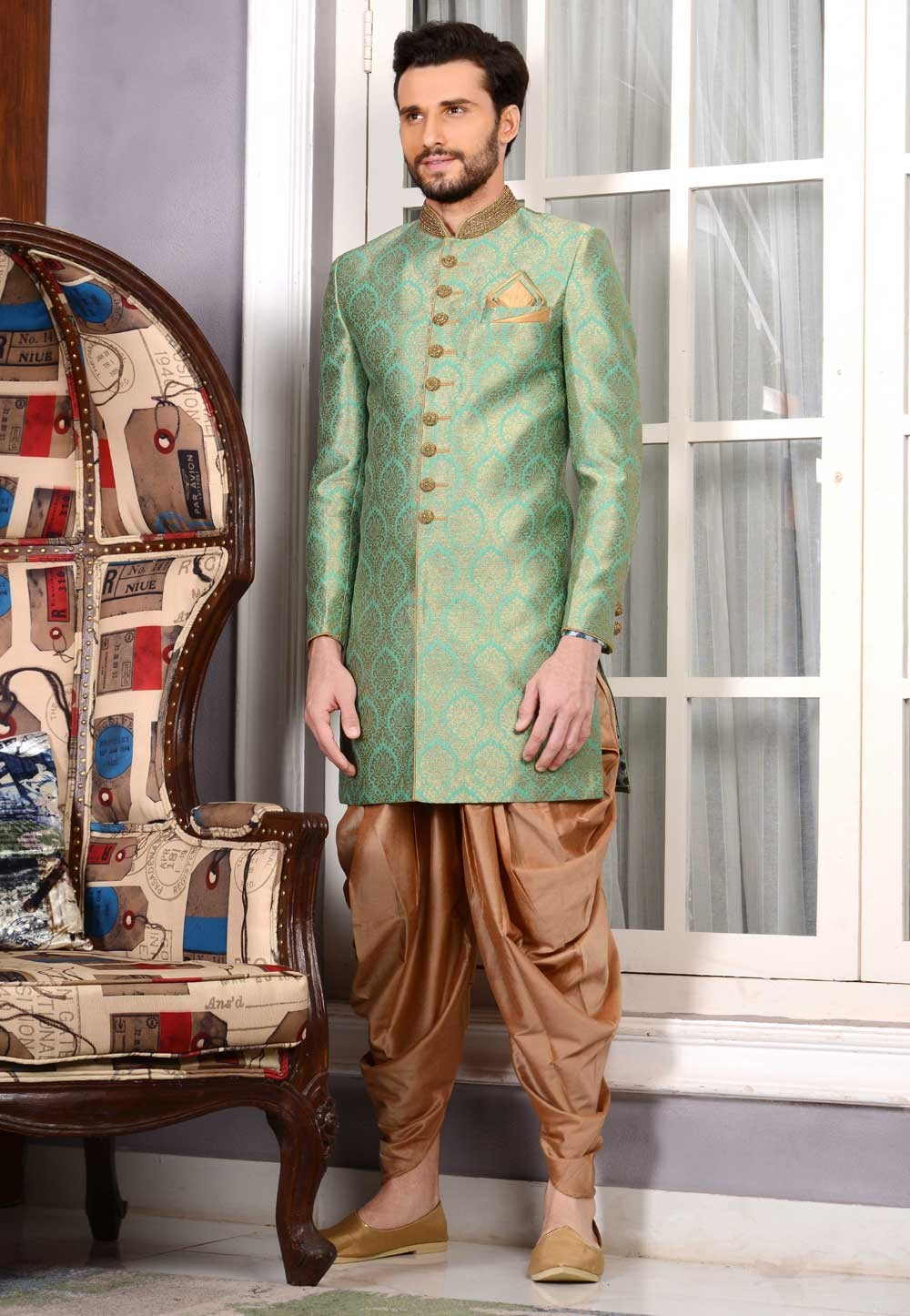 Eye-catching Brocade Silk Fabric Green Color Sherwani