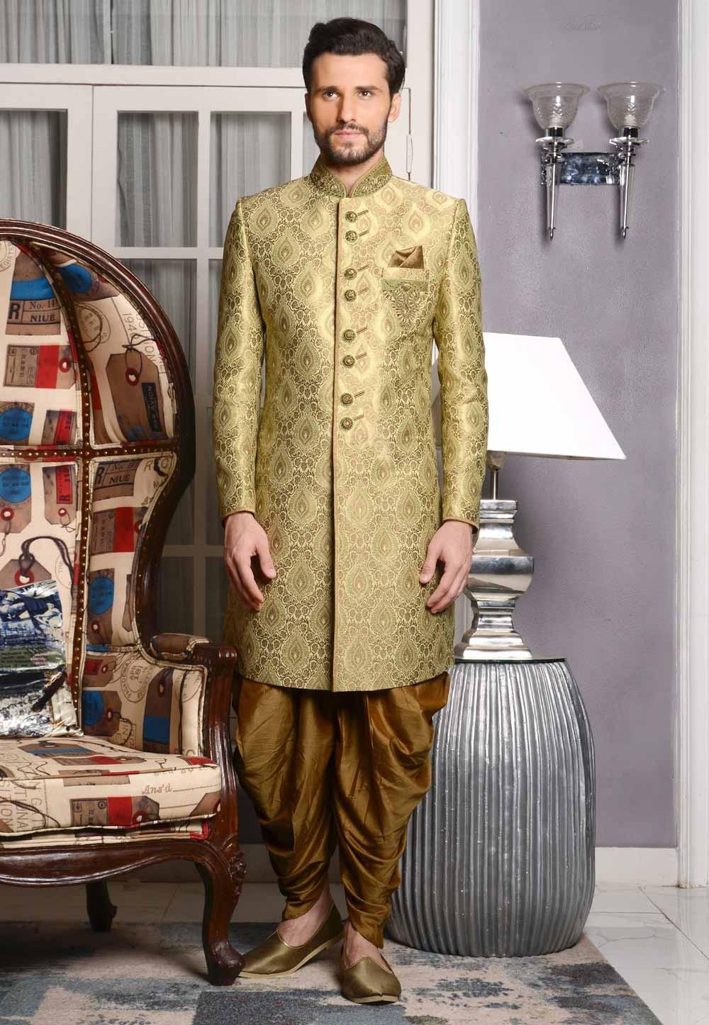 Incredible Green Color Sherwani in Jacquard,Brocade Silk Fabric