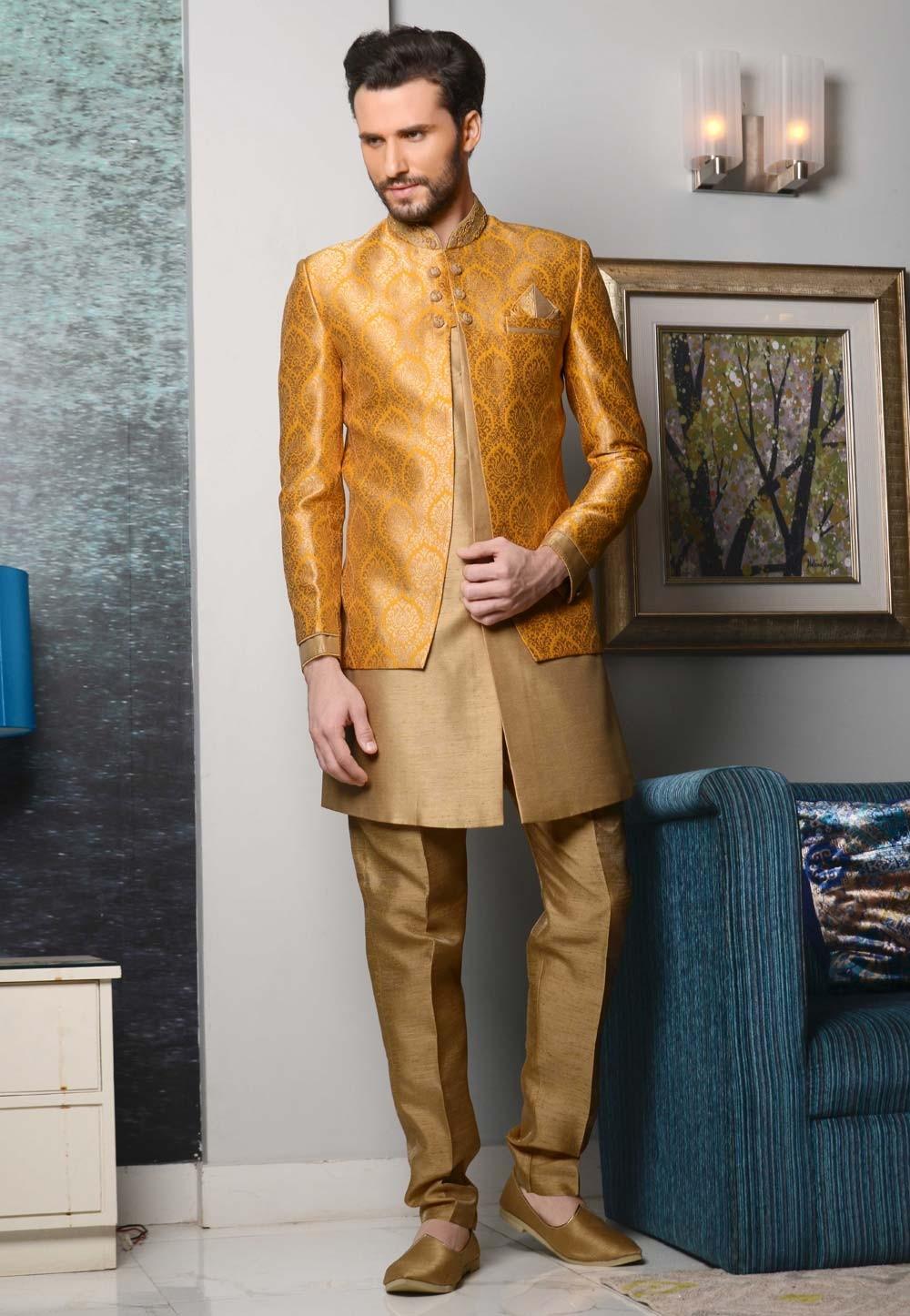 Men's Striking Brocade Silk Yellow,Beige Color Men's Indo Western