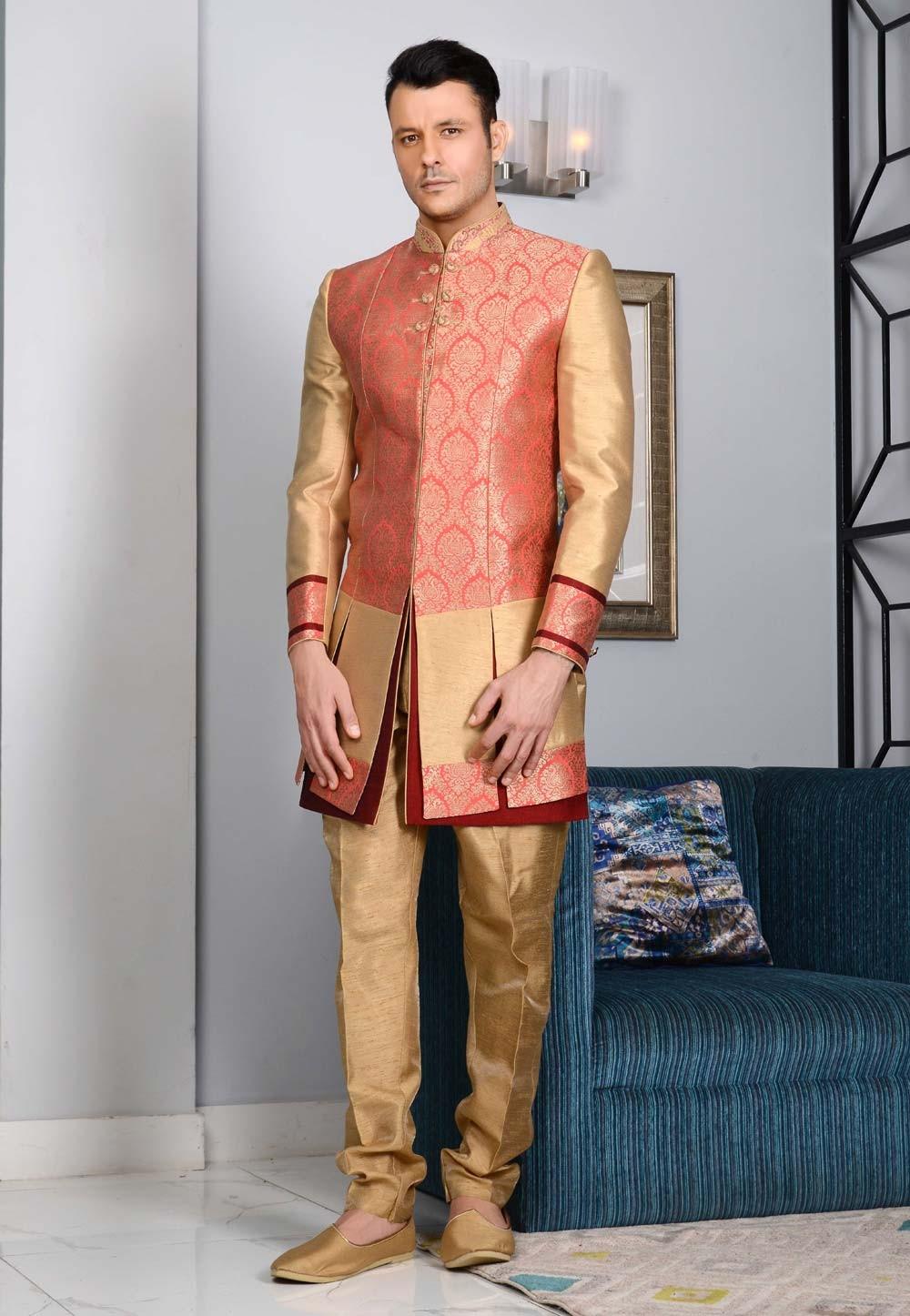 Men's Striking Pink,Golden Color Jacquard,Brocade Silk Men's Indo Western
