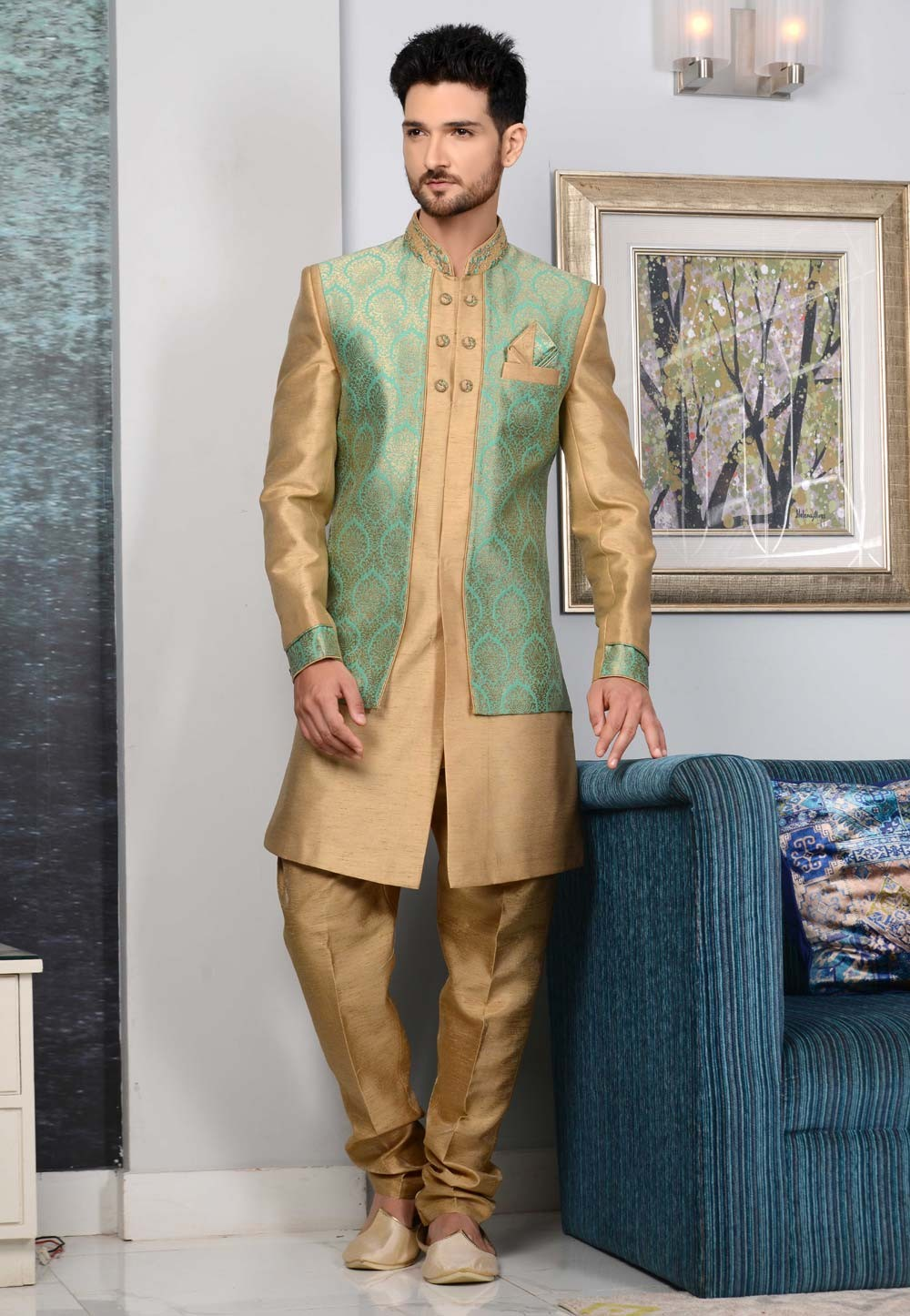 Green,Beige Color Brocade Silk Indowestern.
