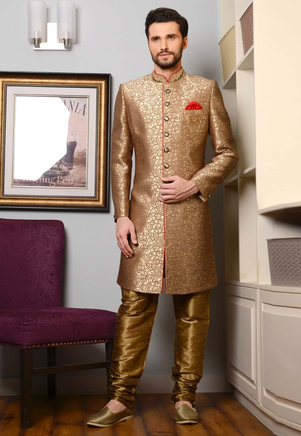Beige Color Imported Fabric Indowestern