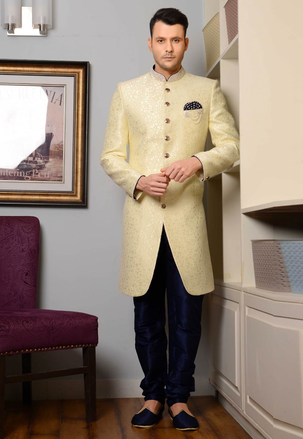 Incredible Yellow Color Imported Fabric Indowestern