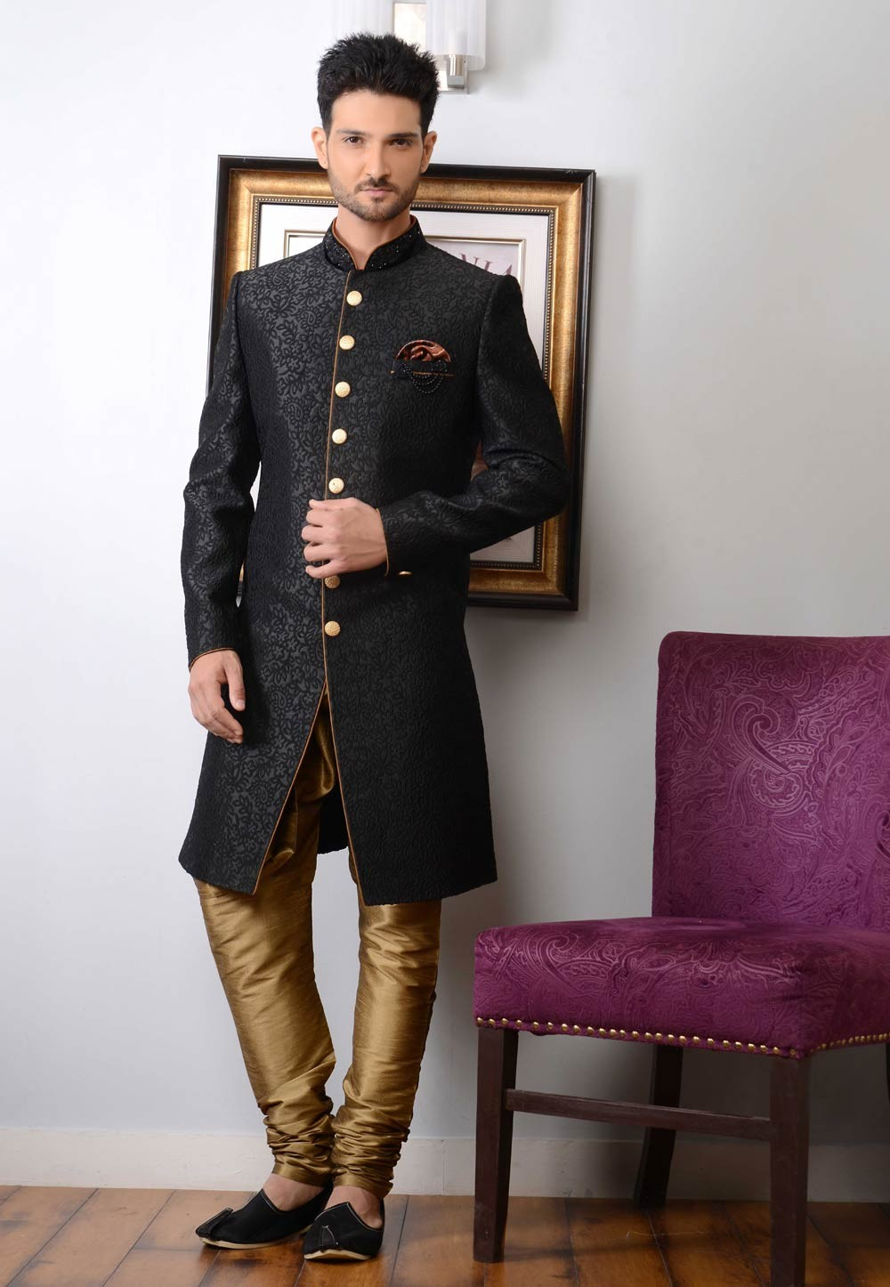 Striking Black Color Imported Fabric Indowestern For Men's