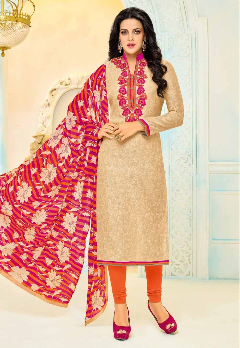 Salwar Kameez in Golden Color & Cotton Fabric