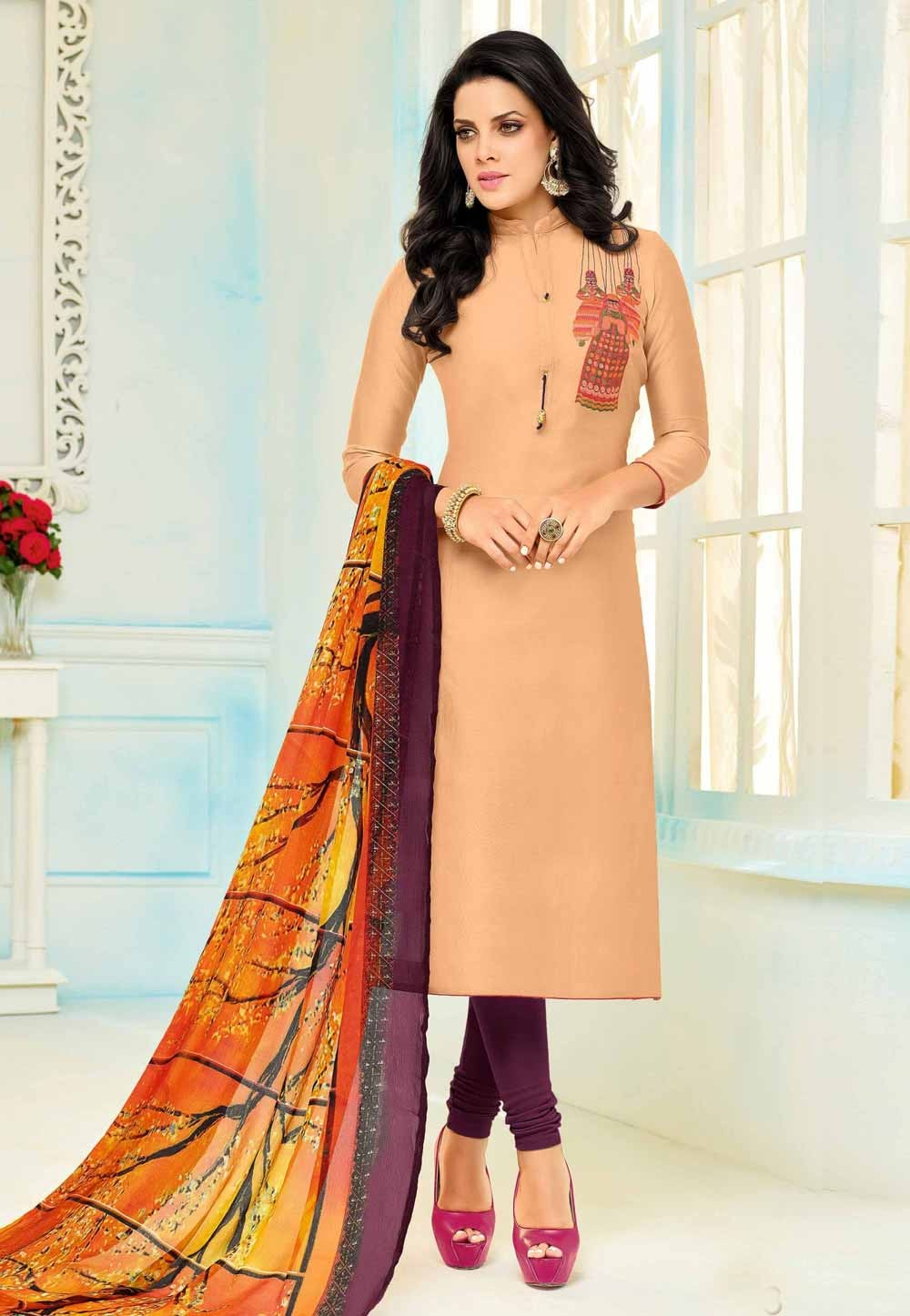 Orange Color Cotton Beautiful Salwar Kameez in Straight Cut Style