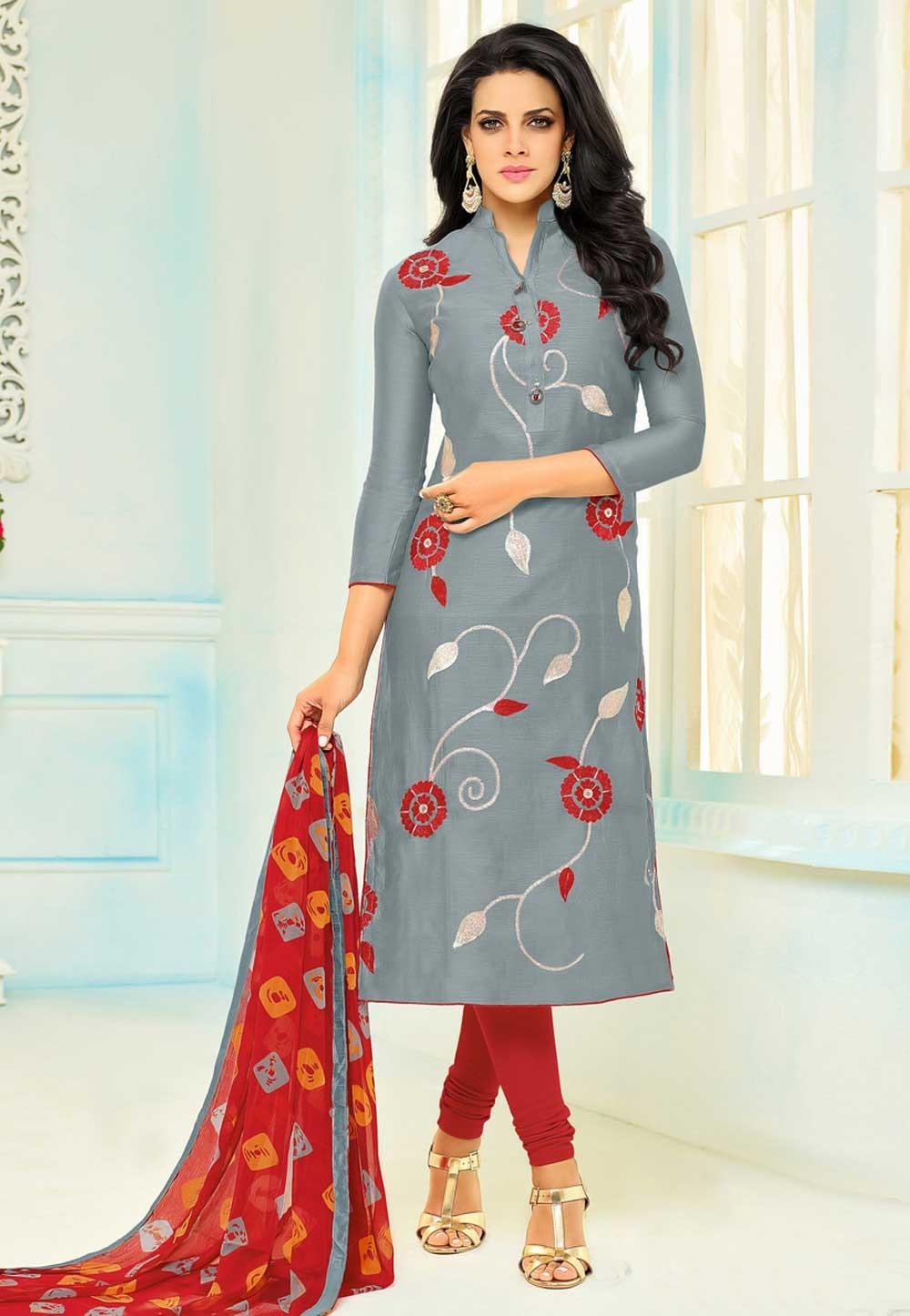 Grey Color Cotton Beautiful Salwar Kameez