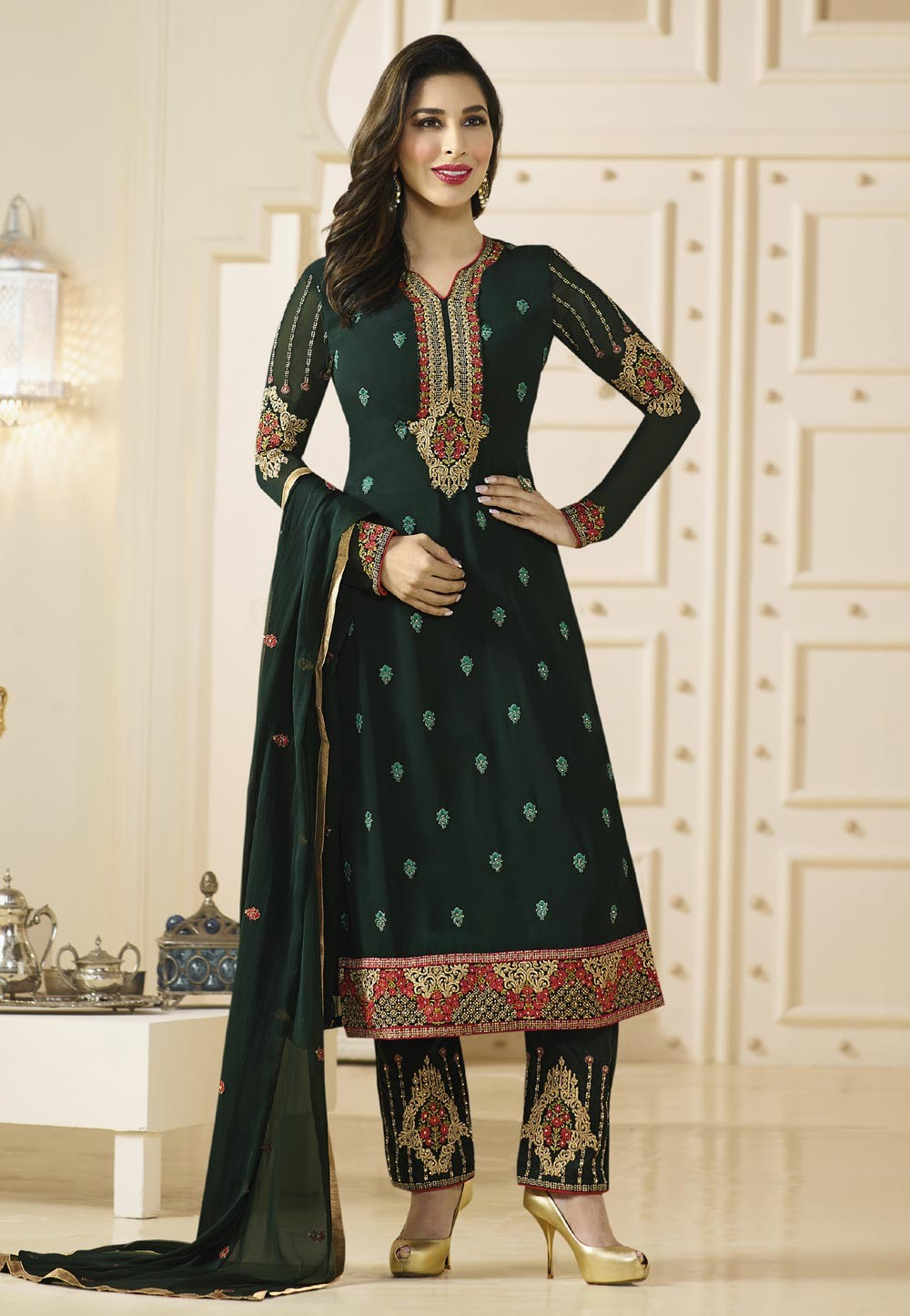 Dark Green Color Incredible Unstitched Salwar Kameez