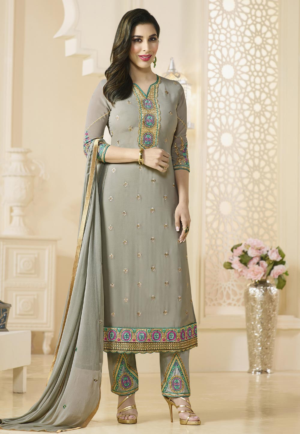 Georgette & Grey Color Straight Cut Style Incredible Unstitched Salwar Kameez