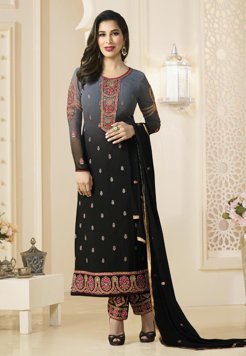 Incredible Salwar Kameez in Grey,Black & Georgette Fabric