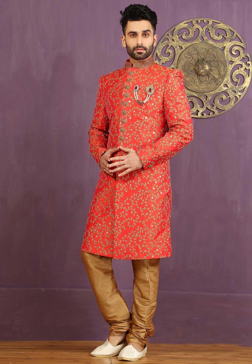 Jacquard,Brocade Silk Fabric Red Color Sherwani