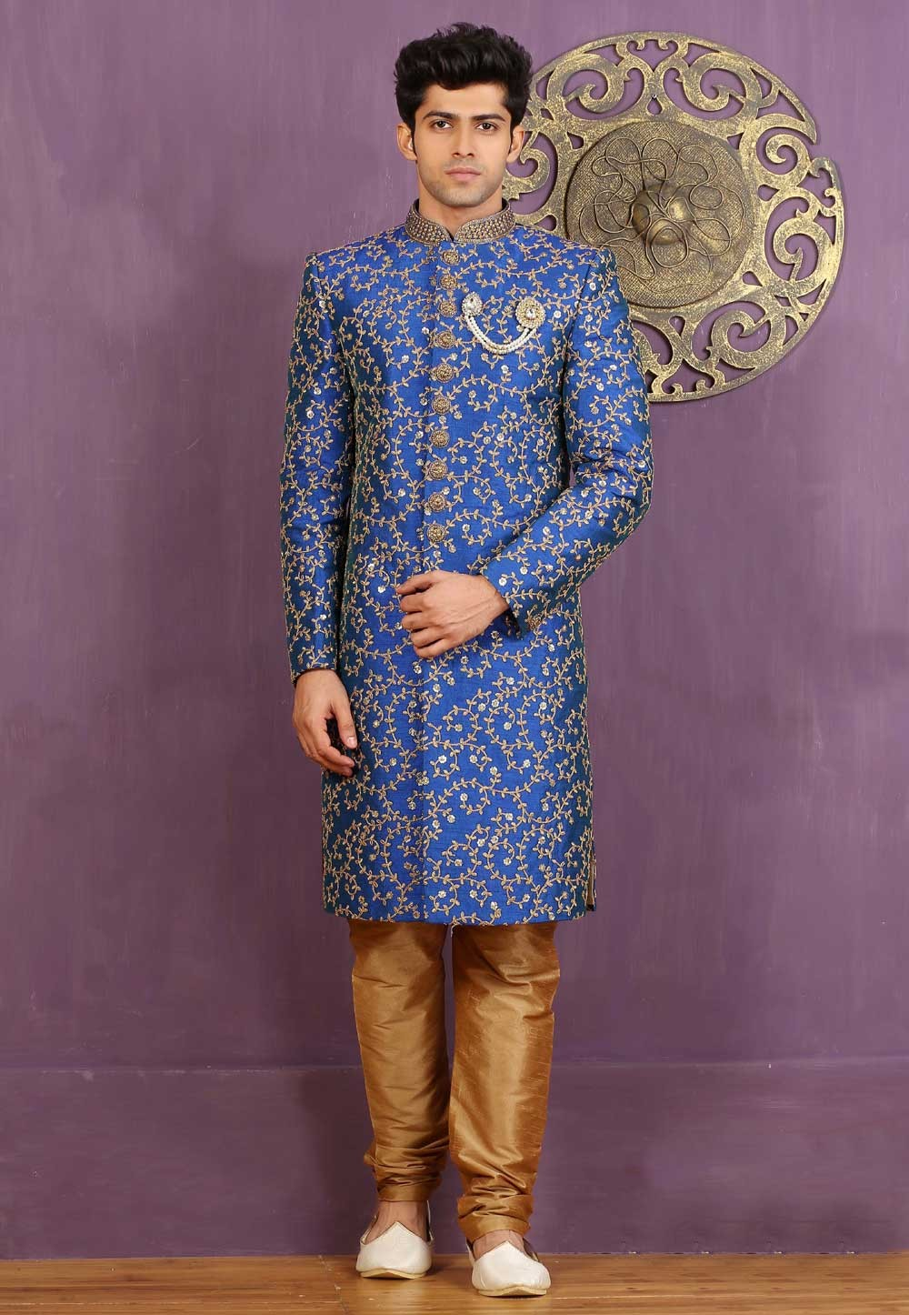 Striking Royal Blue Color Sherwani in Jacquard,Brocade Silk Fabric