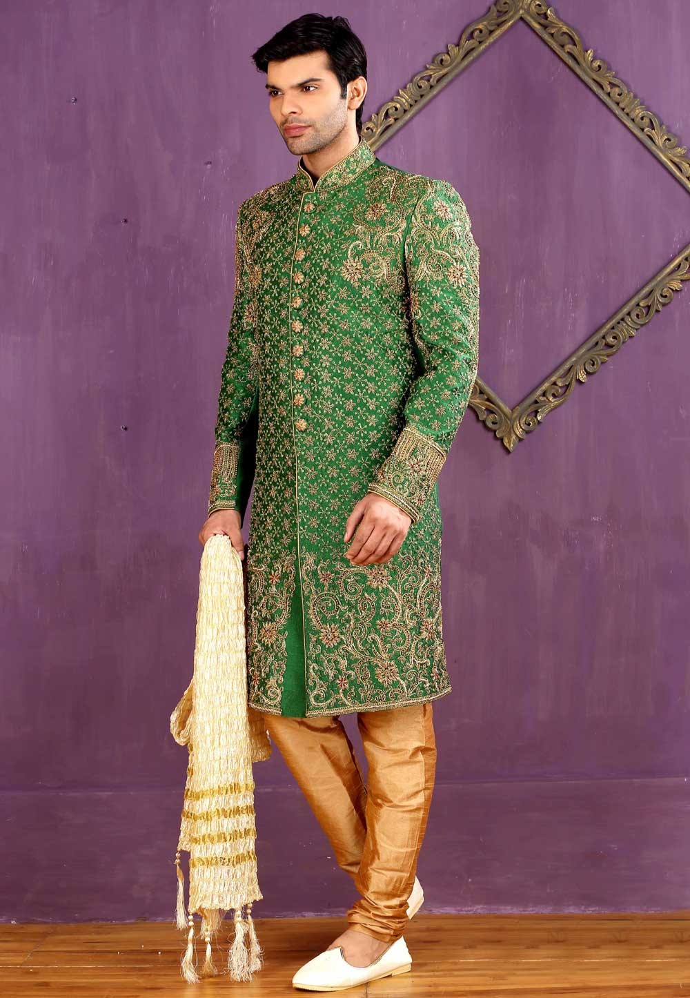 Eye-catching Banarasi Silk,Brocade Fabric Green Color Sherwani