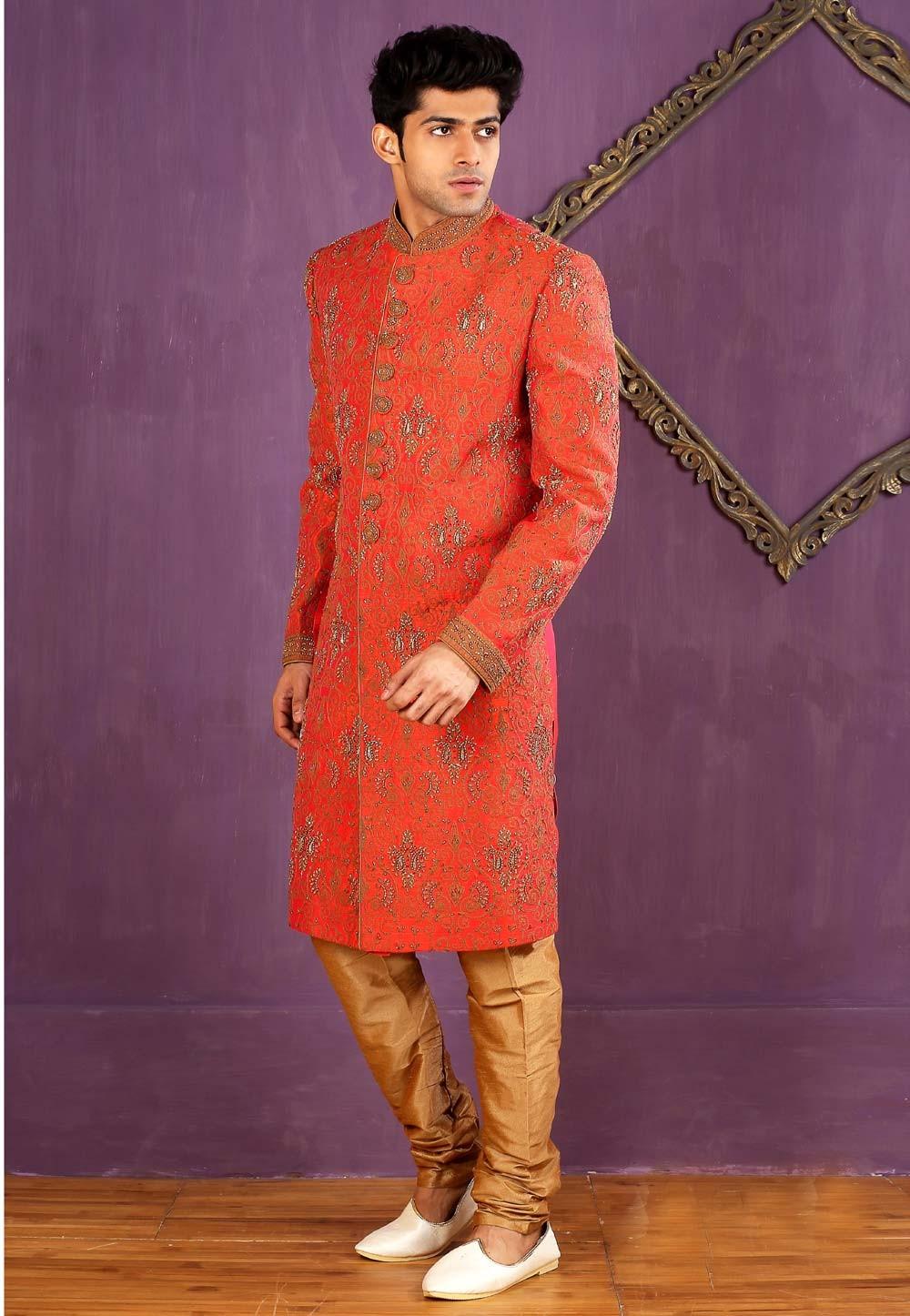 Banarasi Silk,Brocade Fabric Red Color Sherwani
