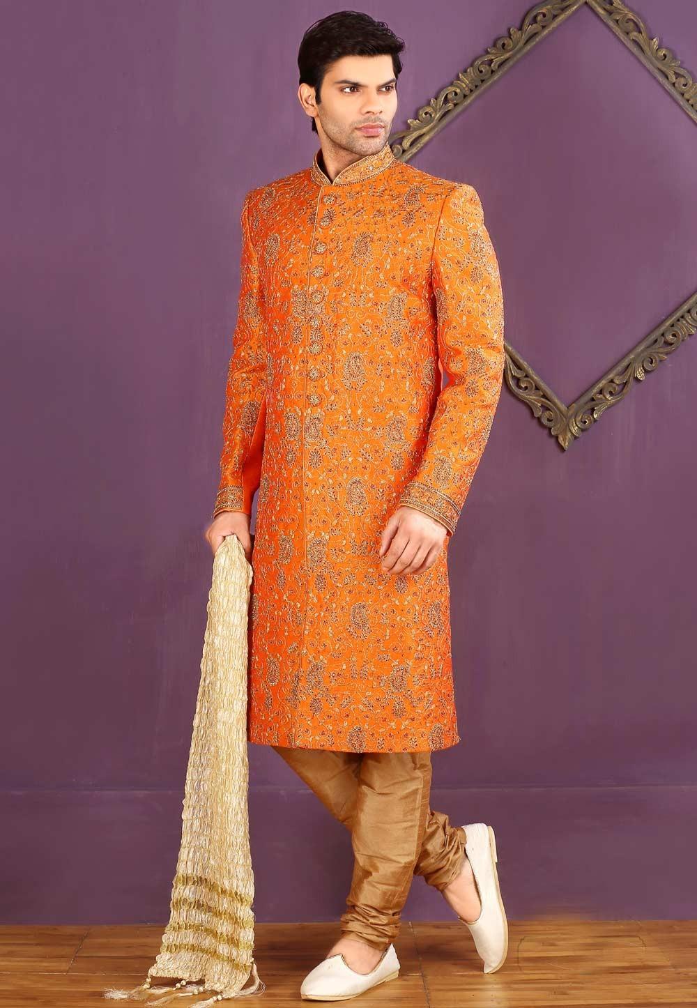 Banarasi Silk,Brocade Fabric Orange Color Sherwani
