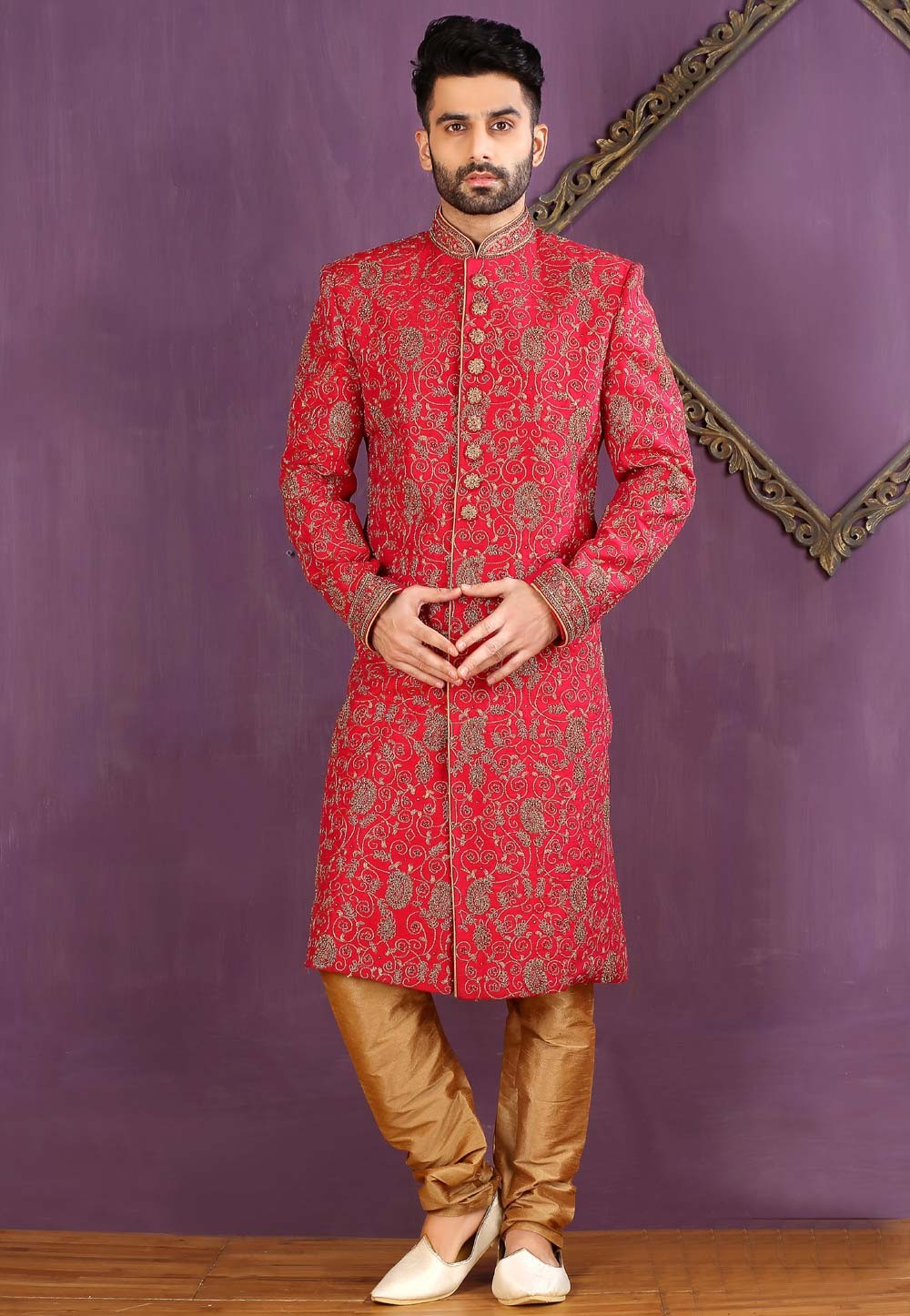 Red Color Banarasi Silk,Brocade Sherwani