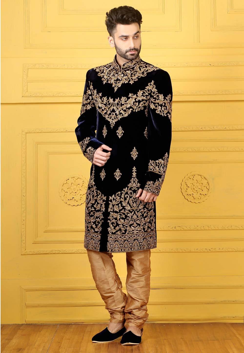 Striking Navy Blue Color Sherwani in Velvet Fabric