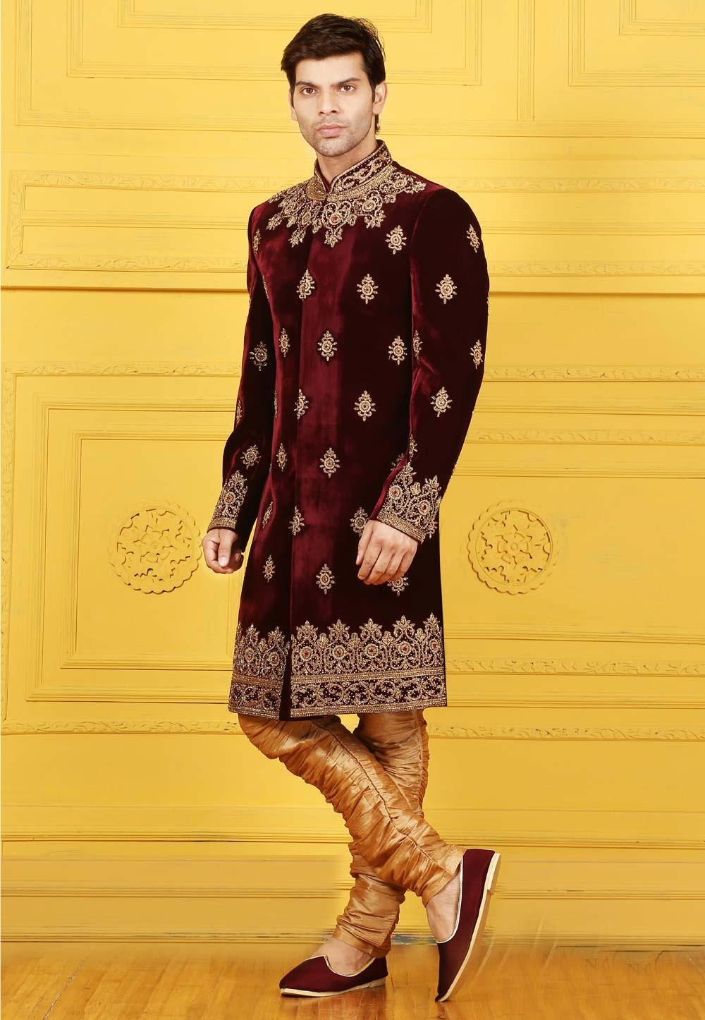 Velvet Fabric Maroon Color Sherwani