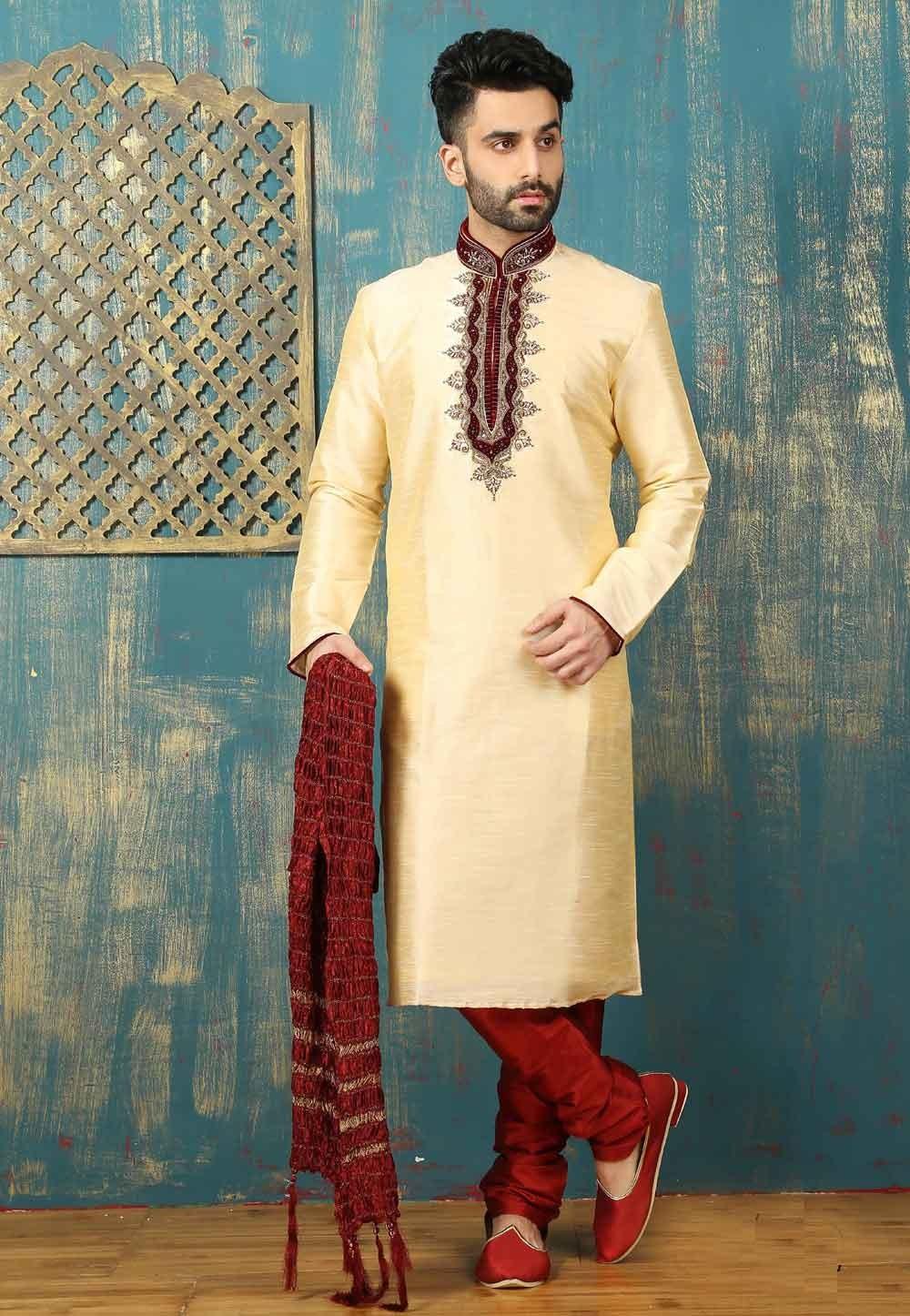 Men's Exquisite Cream Color Dupion Art Silk Readymade Kurta Pajama.