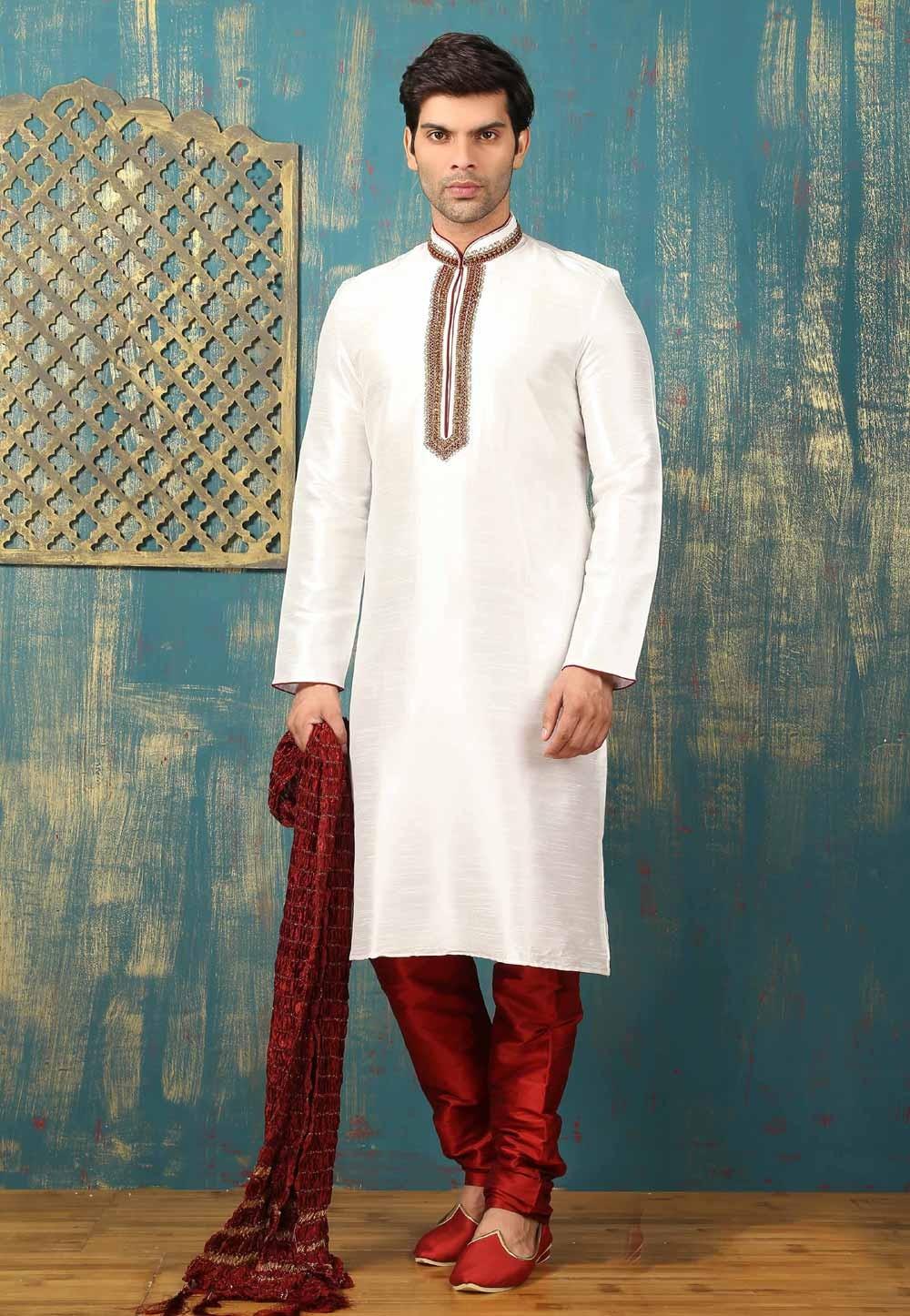 Off White Color Men's Dupion Art Silk Readymade Kurta Pajama.