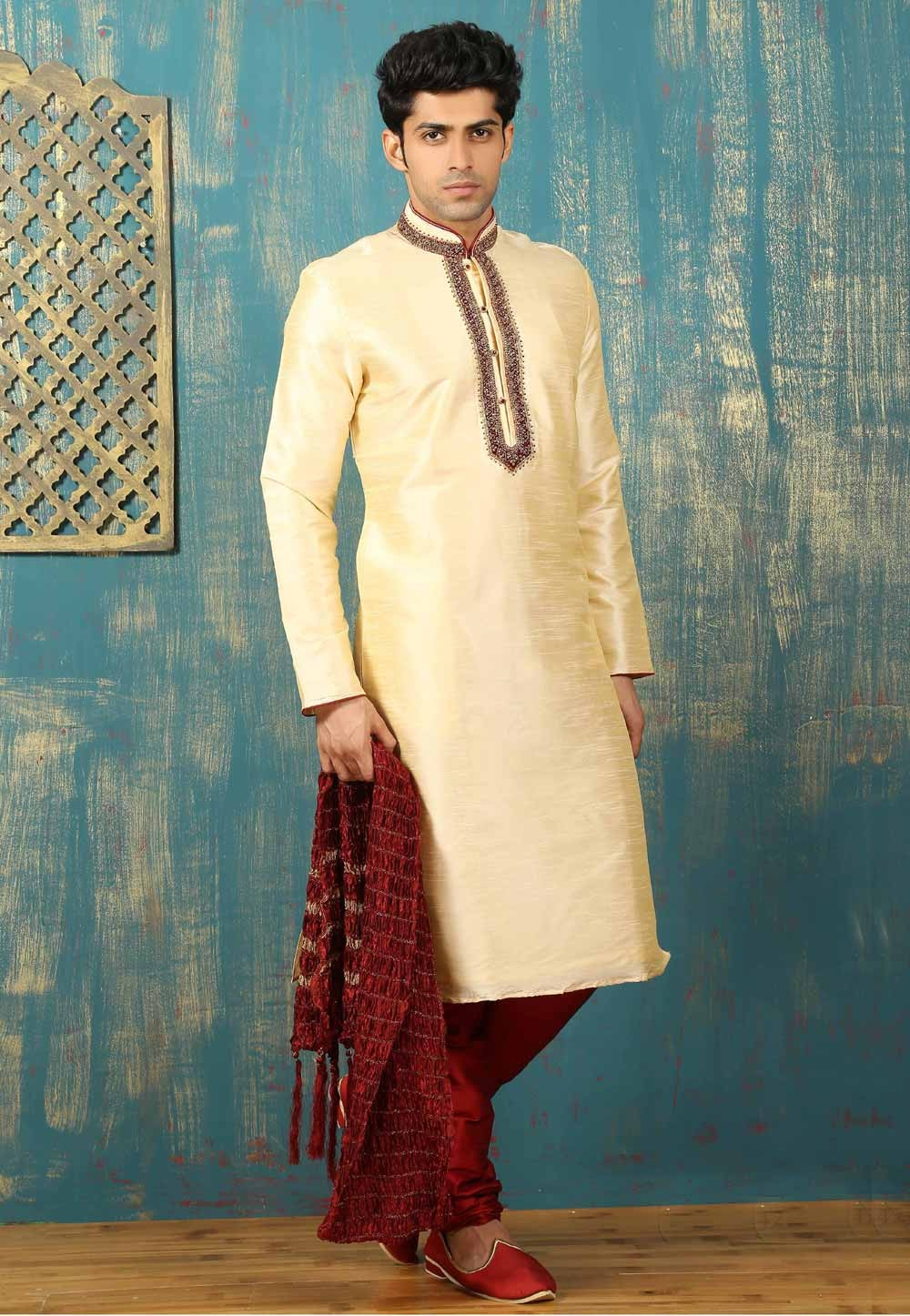 Exquisite Cream Color Dupion Art Silk Readymade Kurta Pajama.