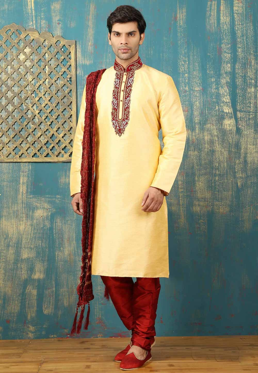 Yellow Color Dupion Art Silk Men's Readymade Kurta Pajama.