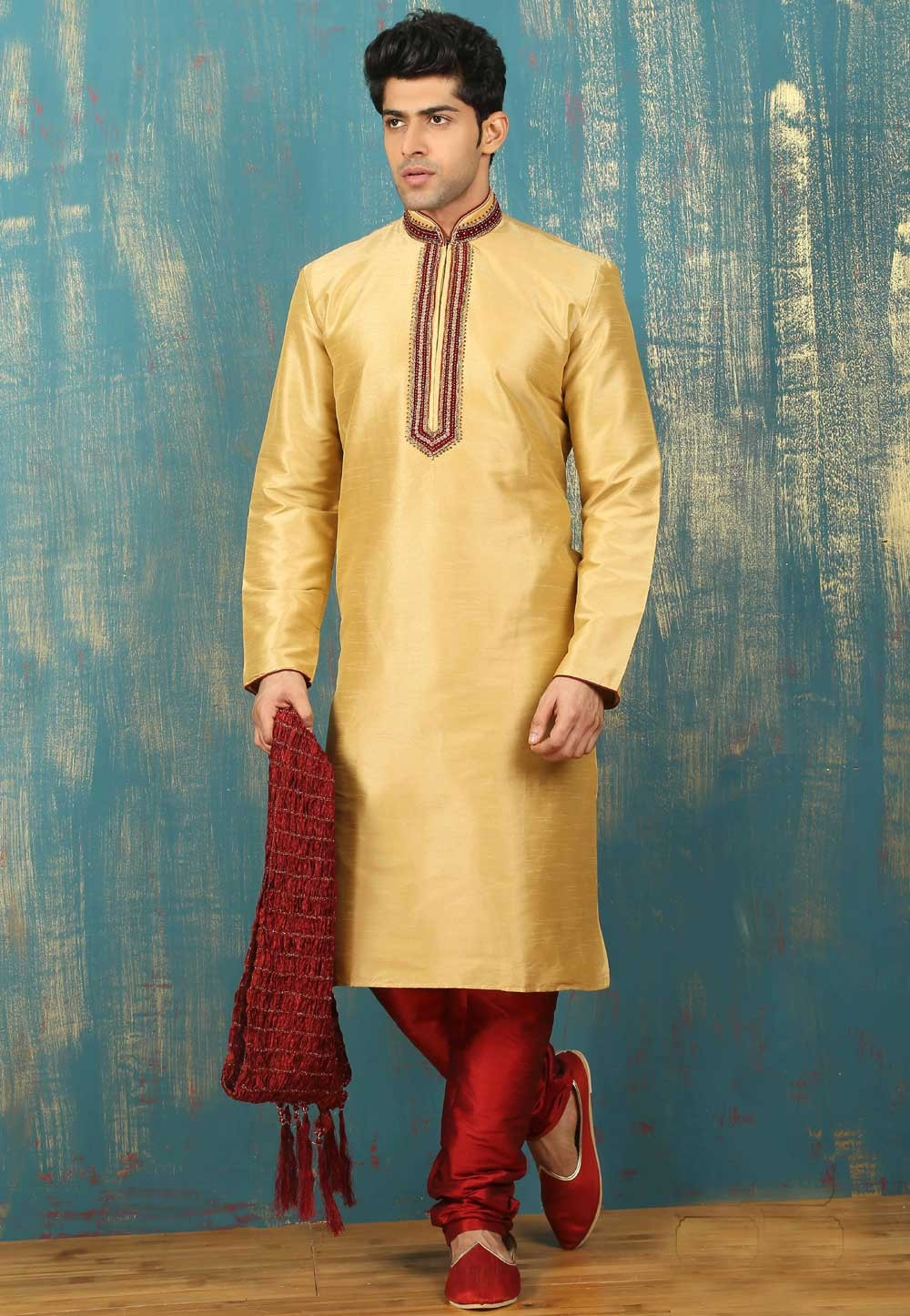 Exquisite Golden Color Dupion Art Silk Readymade Kurta Pajama.