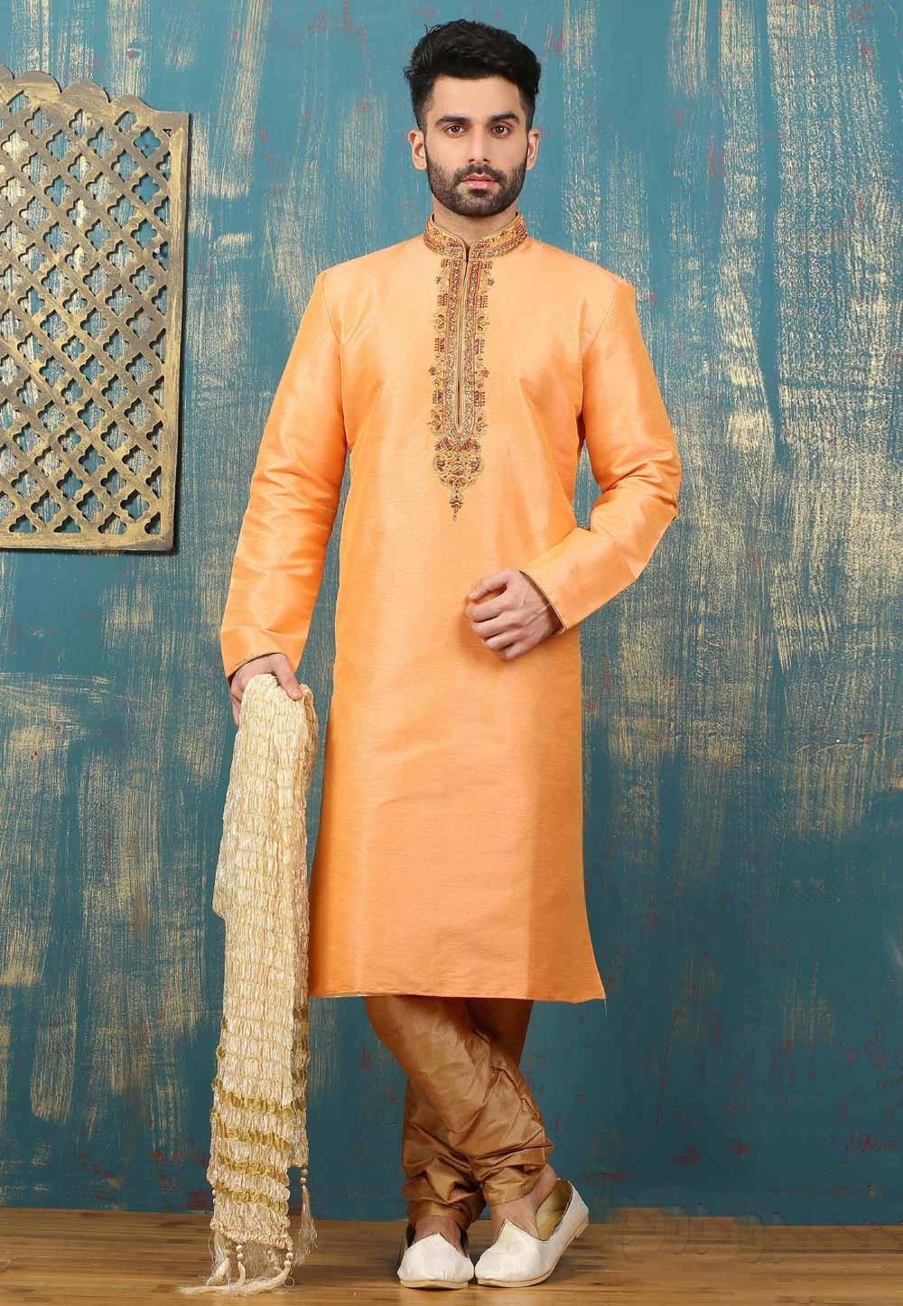 Peach Color Men's Dupion Art Silk Readymade Kurta Pajama.