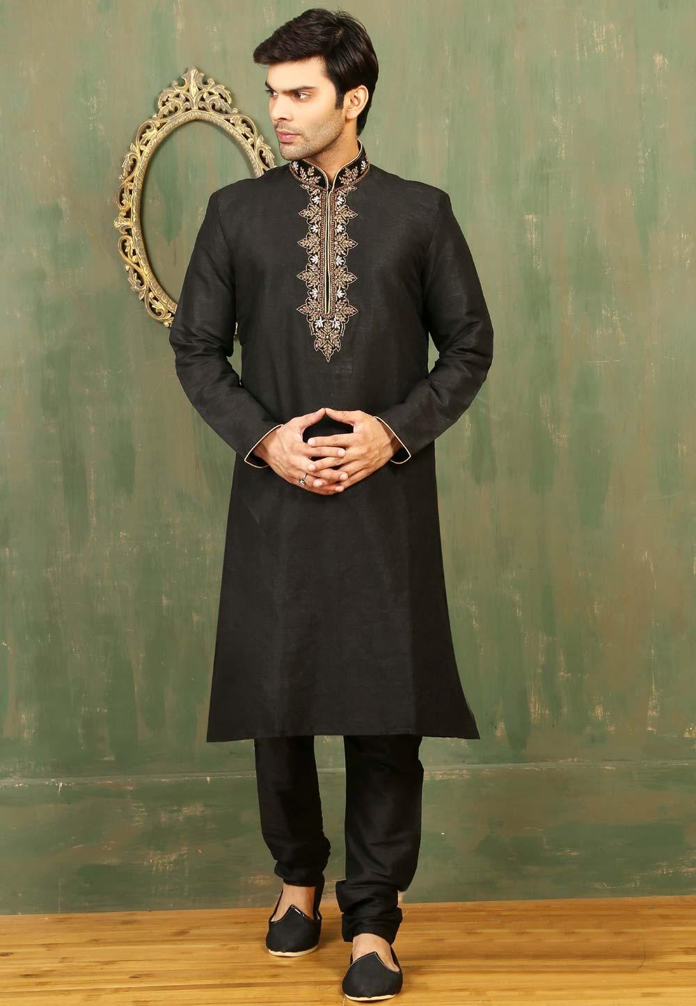 Exquisite Embroidered & Black Color Men's Readymade Kurta Pajama.