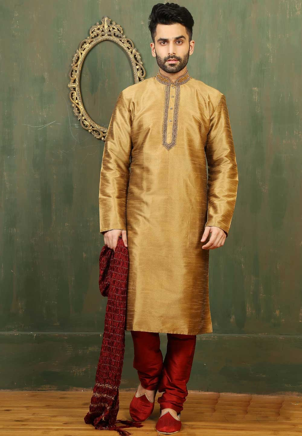Incredible Golden Color Readymade Kurta Pajama.