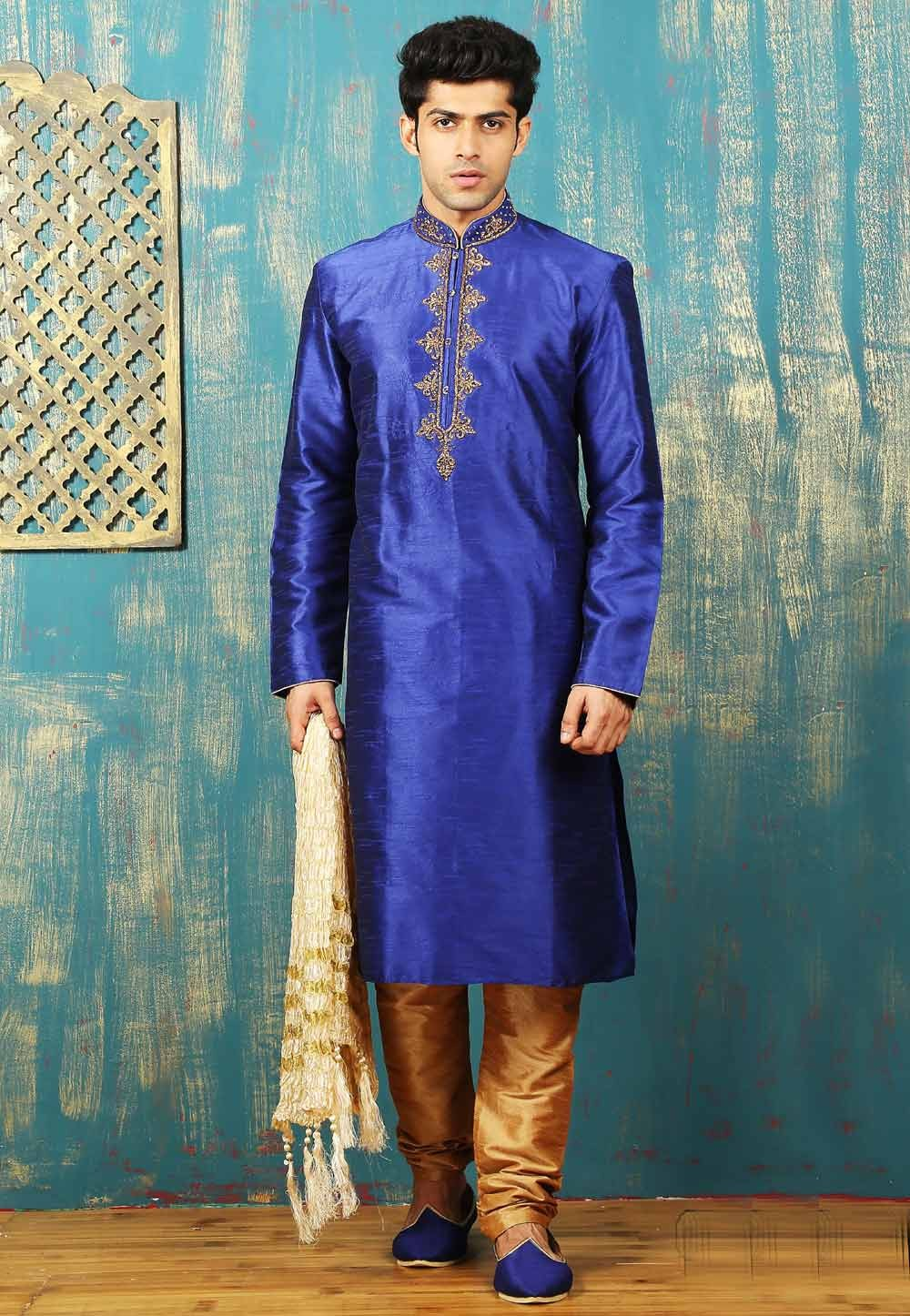 Exquisite Dupion Art Silk & Royal Blue Color Men's Readymade Kurta Pajama.