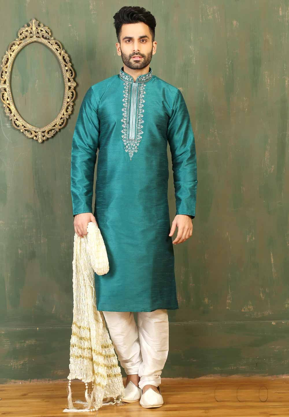 Green Color & Dupion Art Silk Men's Readymade Kurta Pajama.