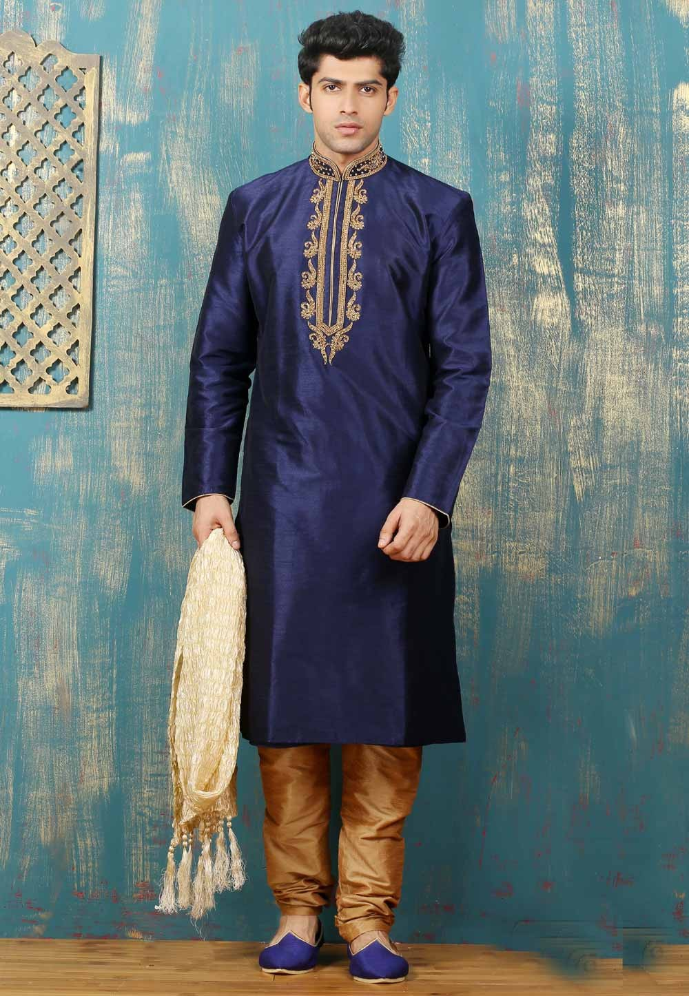 Men's Exquisite Navy Blue Color Dupion Art Silk Readymade Kurta Pajama.