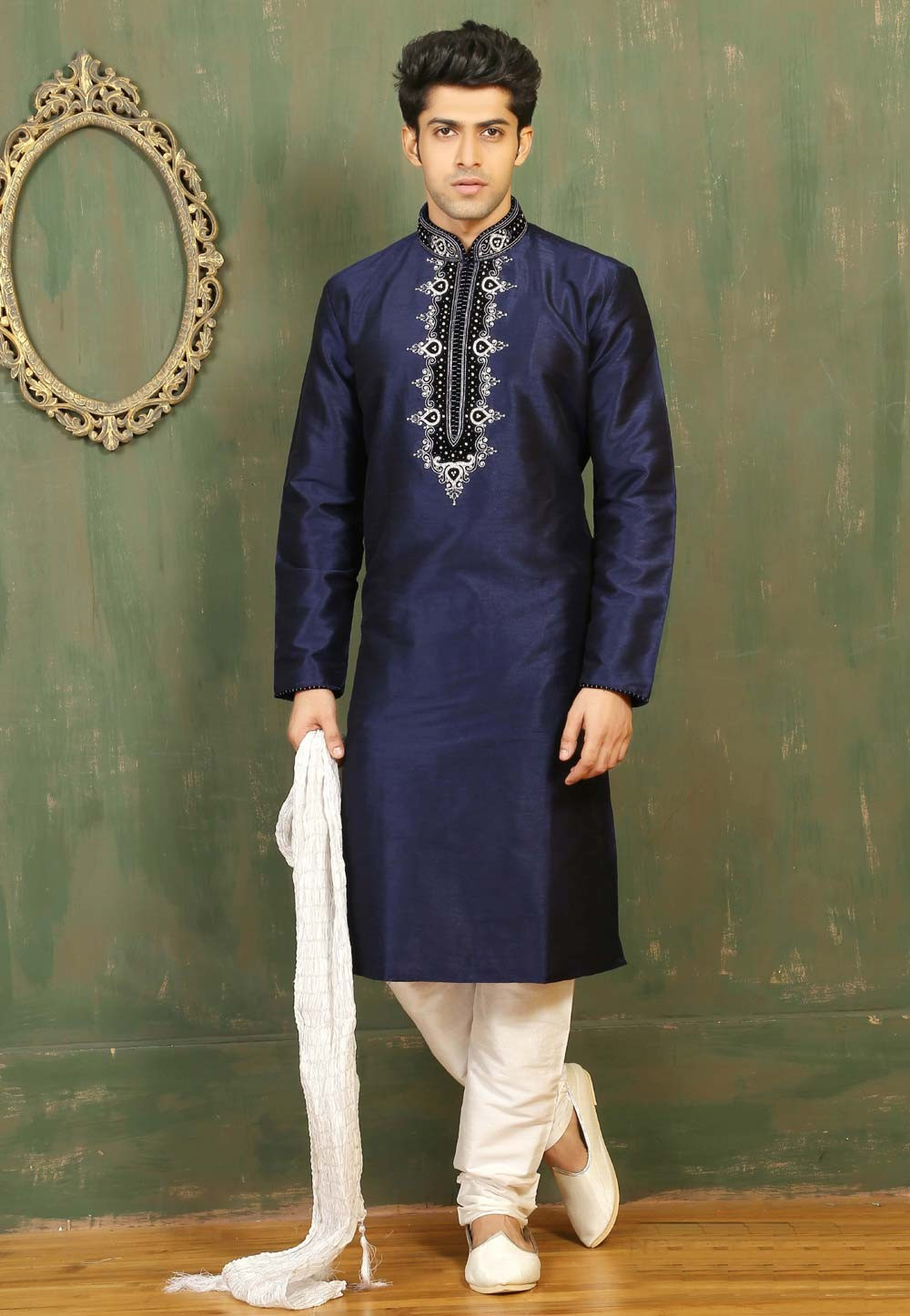 Navy Blue Color Dupion Art Silk Men's Readymade Kurta Pajama.