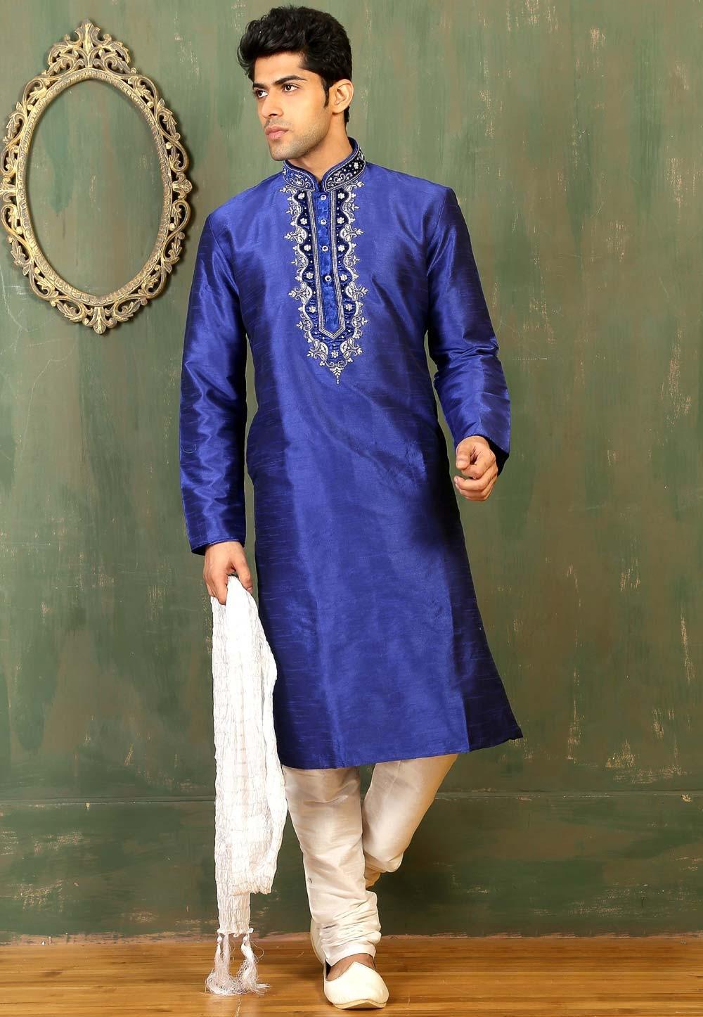 Men's Dupion Art Silk Royal Blue Color Readymade Kurta Pajama.