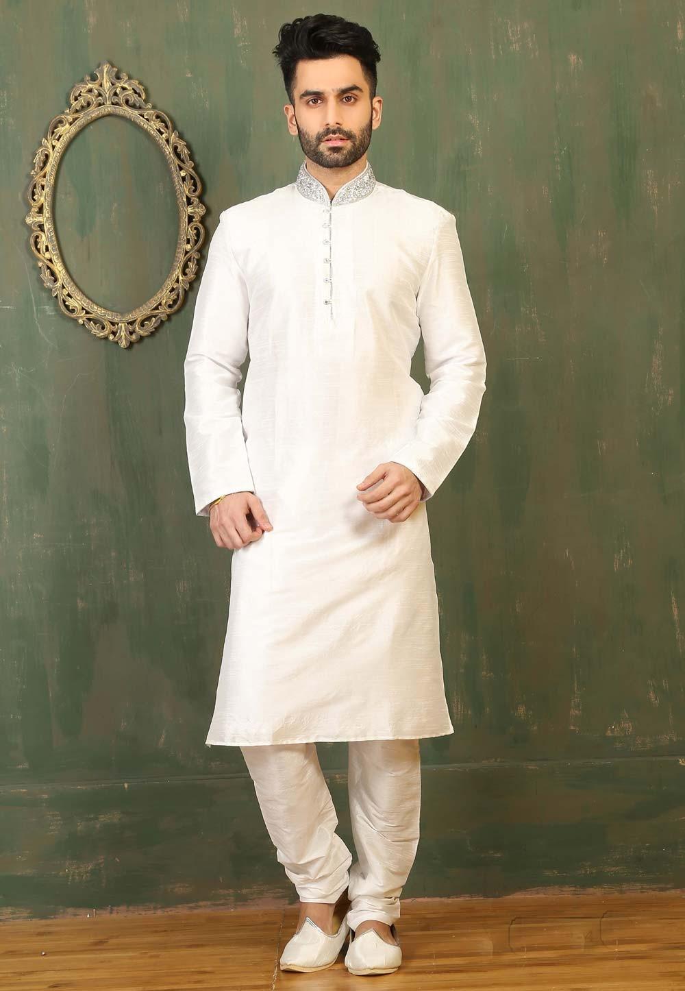 Off White Color Dupion Art Silk Fabric Readymade Kurta Pajama.