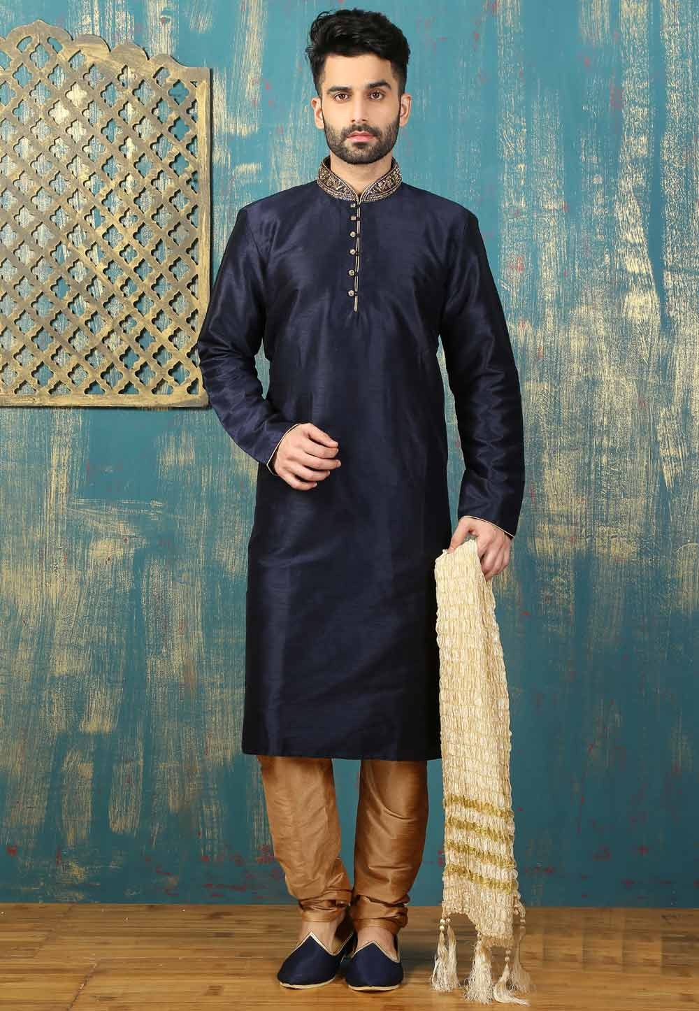 Navy Blue Color Men's Readymade Kurta Pajama.