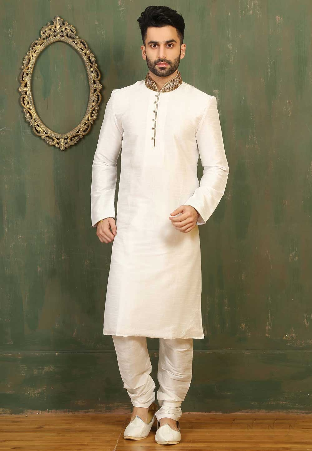 Off White Color Dupion Art Silk Readymade Kurta Pajama For Men's