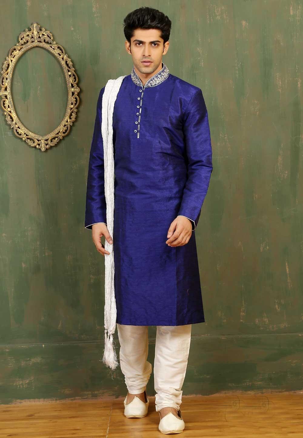 Men\'s Dupion Art Silk with Royal Blue Color Readymade Kurta Pajama.