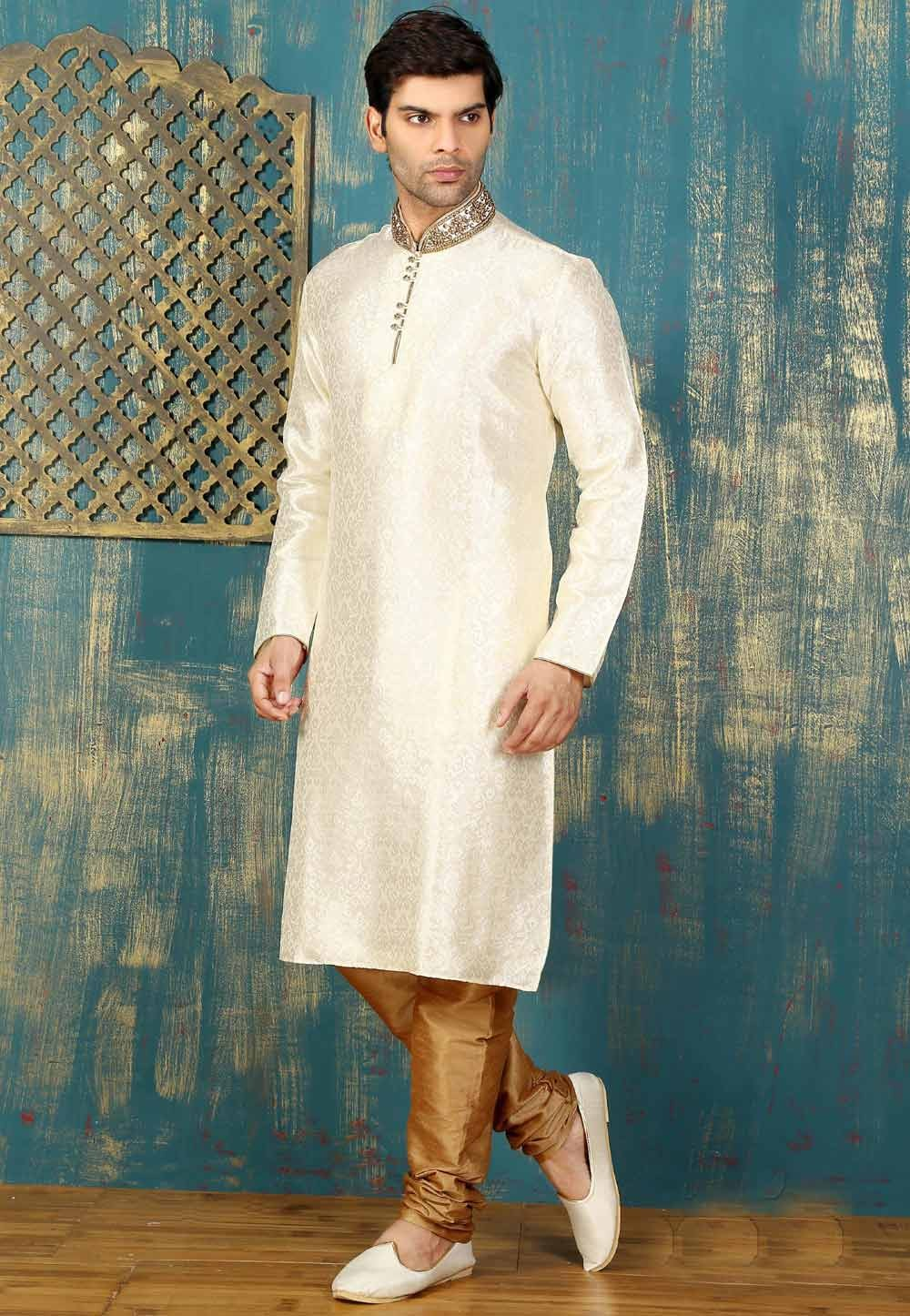 Exquisite Off White Color Satin,Brocade Readymade Kurta Pajama.