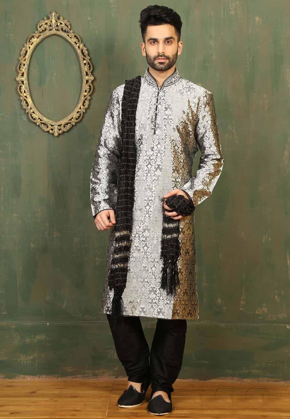 Silver Colour Satin,Brocade Readymade Kurta Pajama.