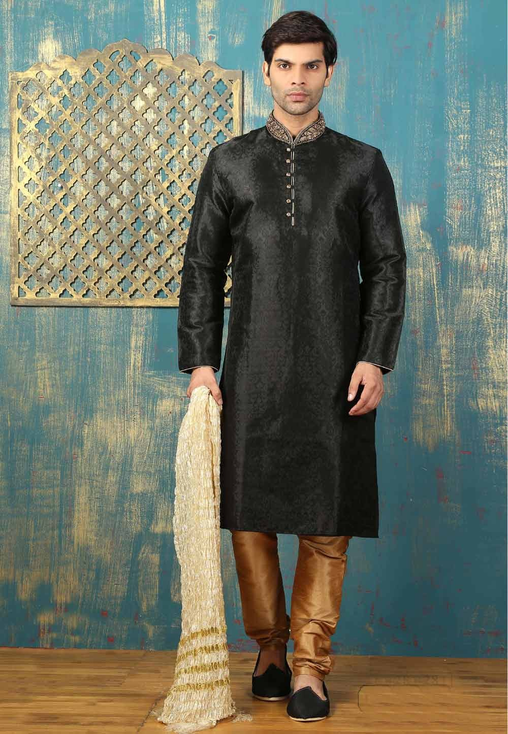 Men's Exquisite Satin,Brocade Black Color Readymade Kurta Pajama.